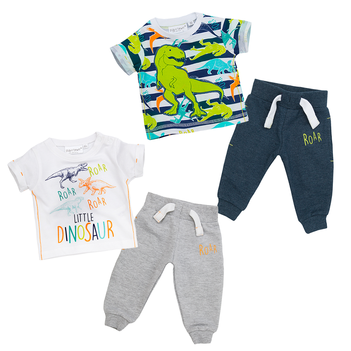 ad77cacc2 Newborn Baby Boys Top   Joggers Set Dinosaur Outfit T-Shirt Trousers ...