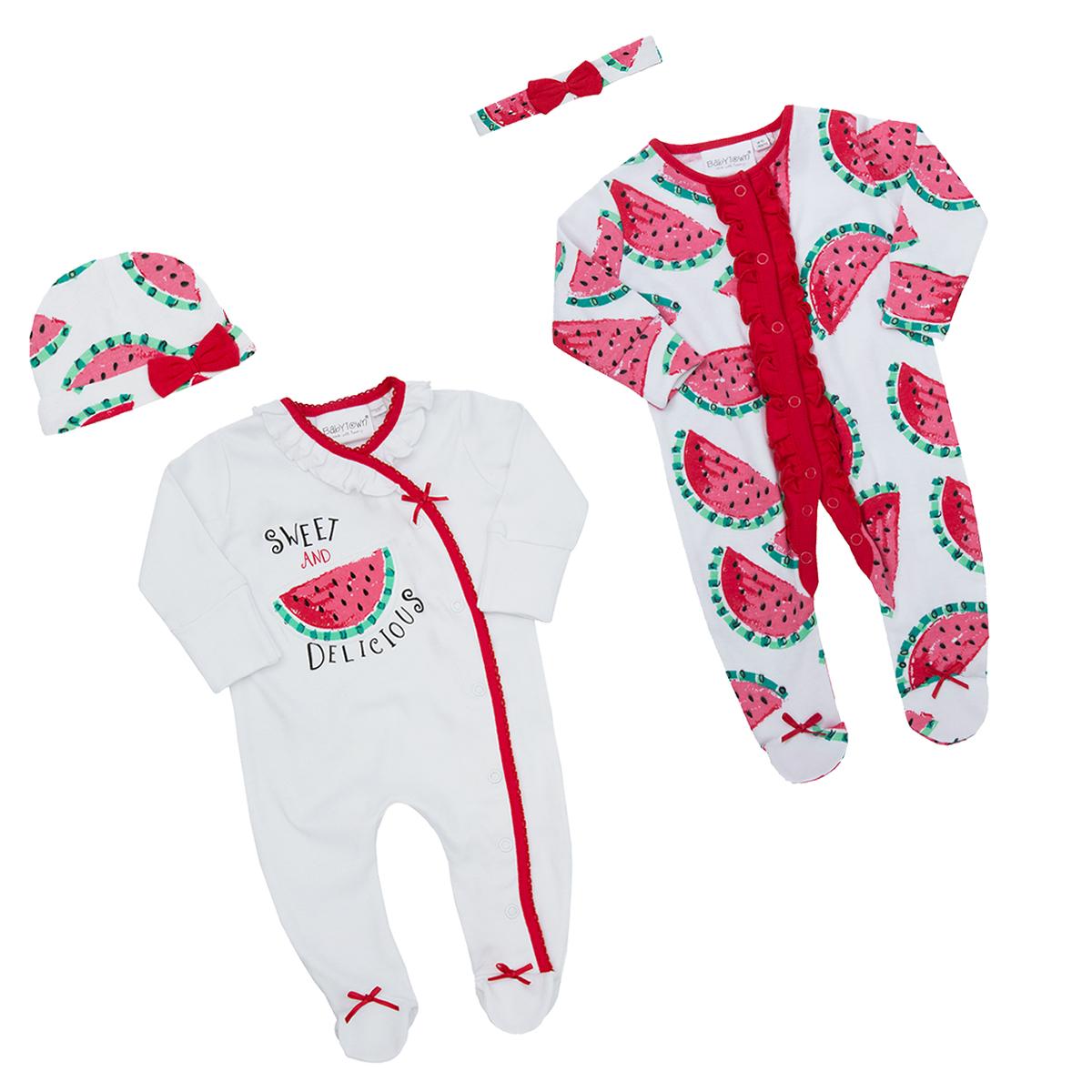 b3c659b96 Premature Newborn Baby Girls Sleepsuit Novelty Watermelon Babygrow Bodysuit  New