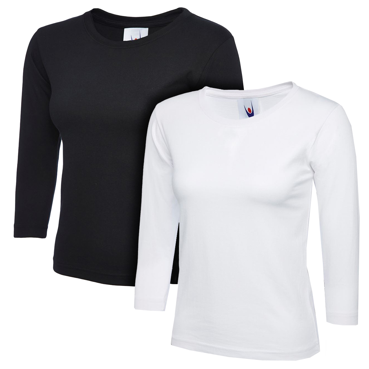 721c3bcdd7c9 Ladies Womens 3 4 Sleeve T-Shirt Top Plain Tee Casual Formal 2 Pack  Multibuy New