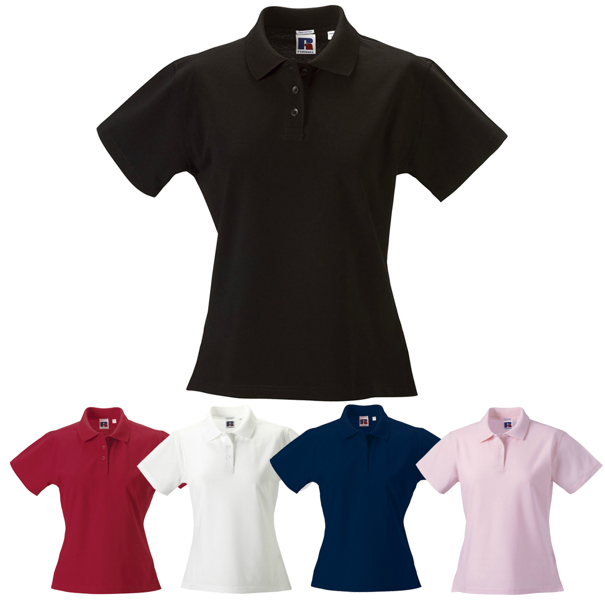 e4db884a0 Women's Classic Polo Top Short Sleeve T-Shirt Plain Shirt 100% Pima Cotton