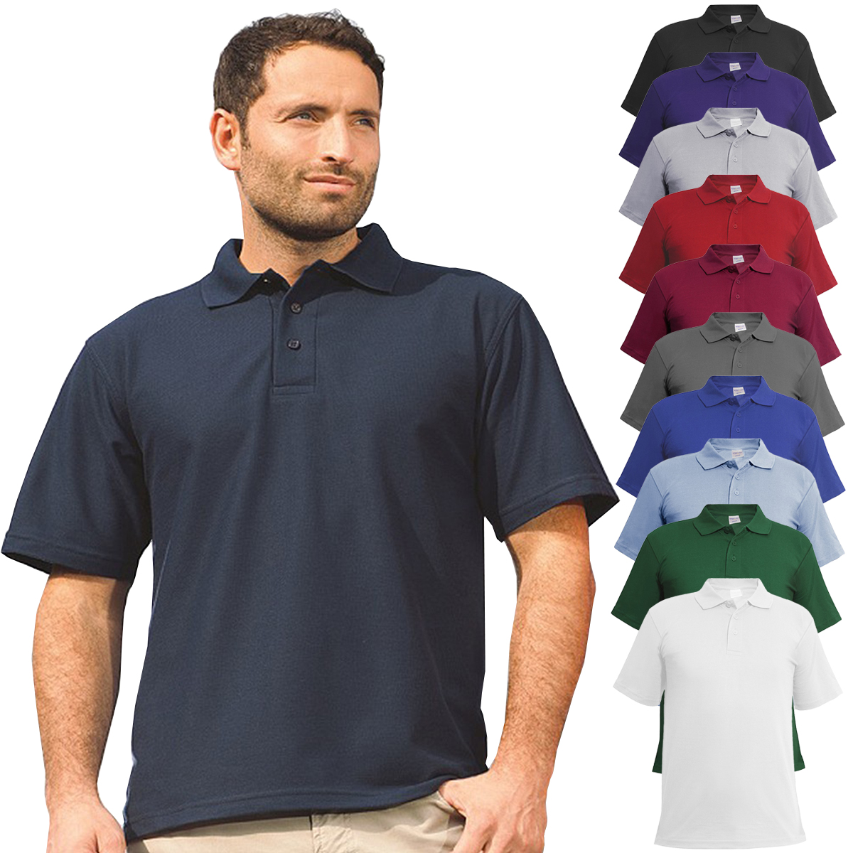 Mens Classic Polo Top Plus Size T Shirt Plain Shirt Big