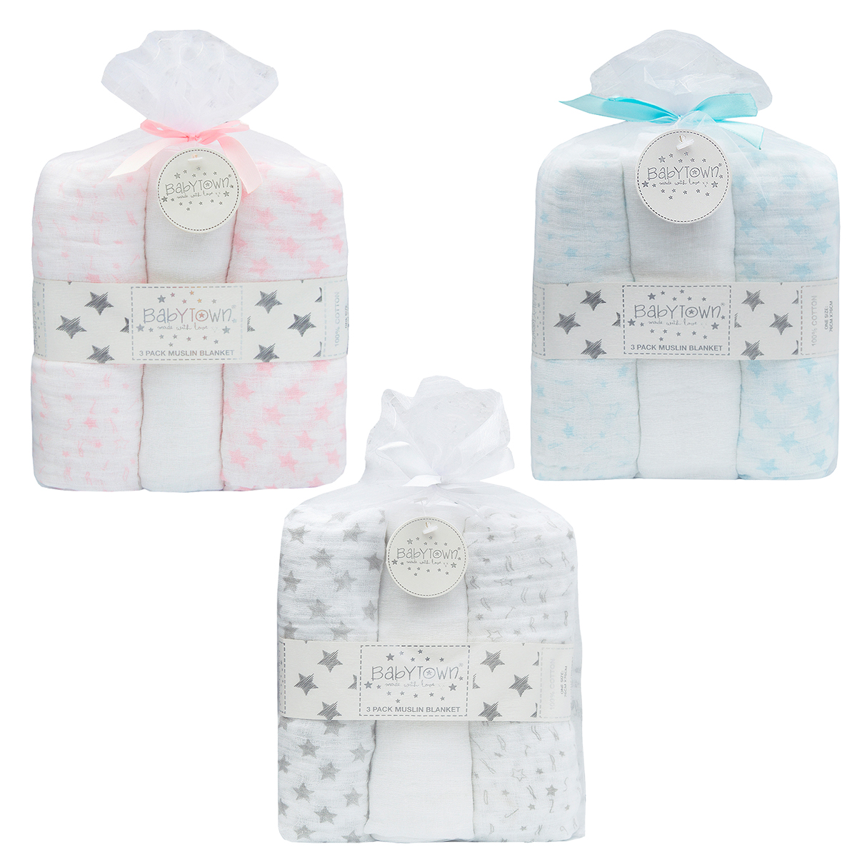 Newborn Cotton Muslin Square Burp Cloth Nappy Wipe 3 Pack Swaddle
