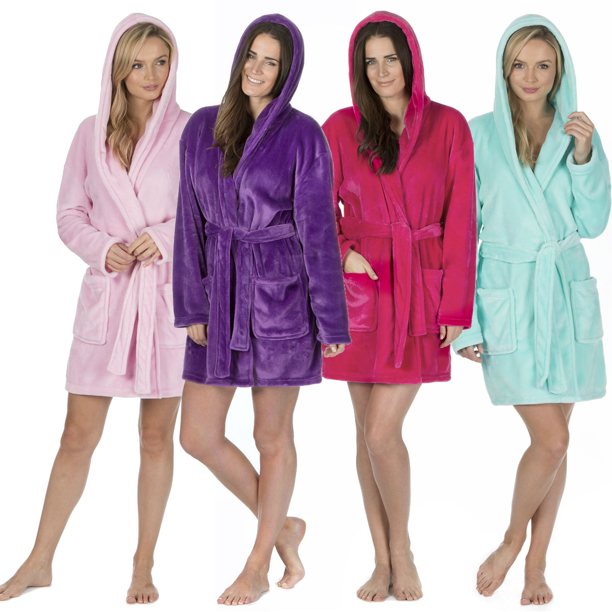 Forever Dreaming Ladies Above Knee Dressing Gown Flannel Fleece Hooded Bath  Robe 59cb6dc7f