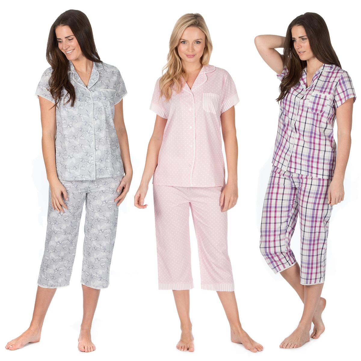 Ladies Short Sleeve Pyjama Set Three Quarter Length Bottoms 100% Cotton PJs  New a586889e24