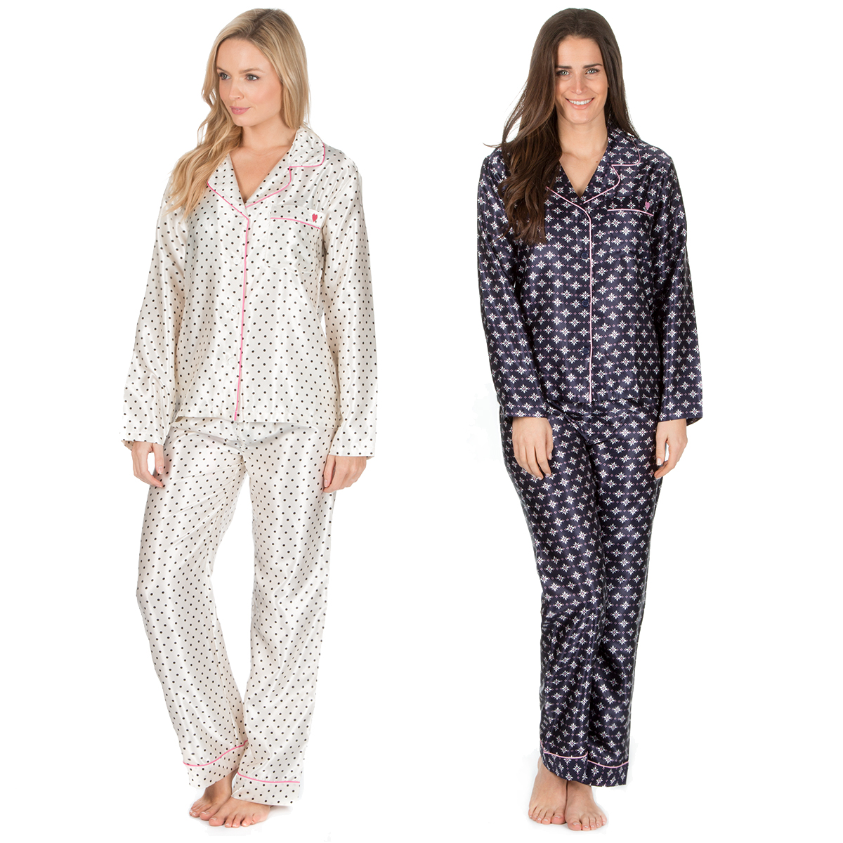 cc7cb4626fcb Ladies Long Sleeve Button Up Pyjama Shirt Top   Bottoms Satin PJ Set  Nightwear