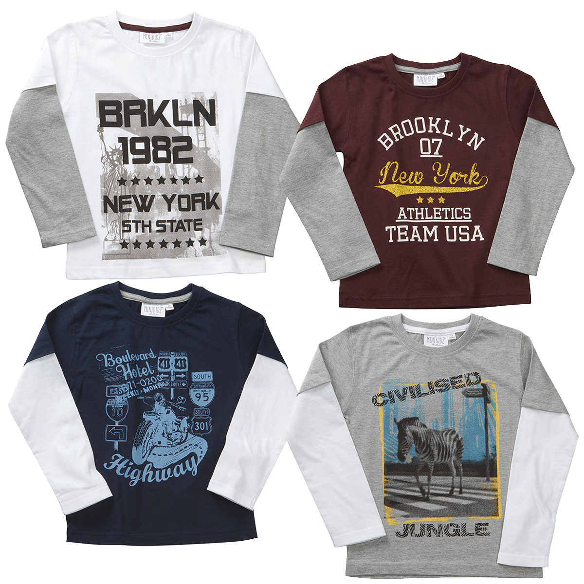 Childrens Kids Boys Long Sleeve Tshirt Printed Graphic Cotton Top Ages 2-6 NEW
