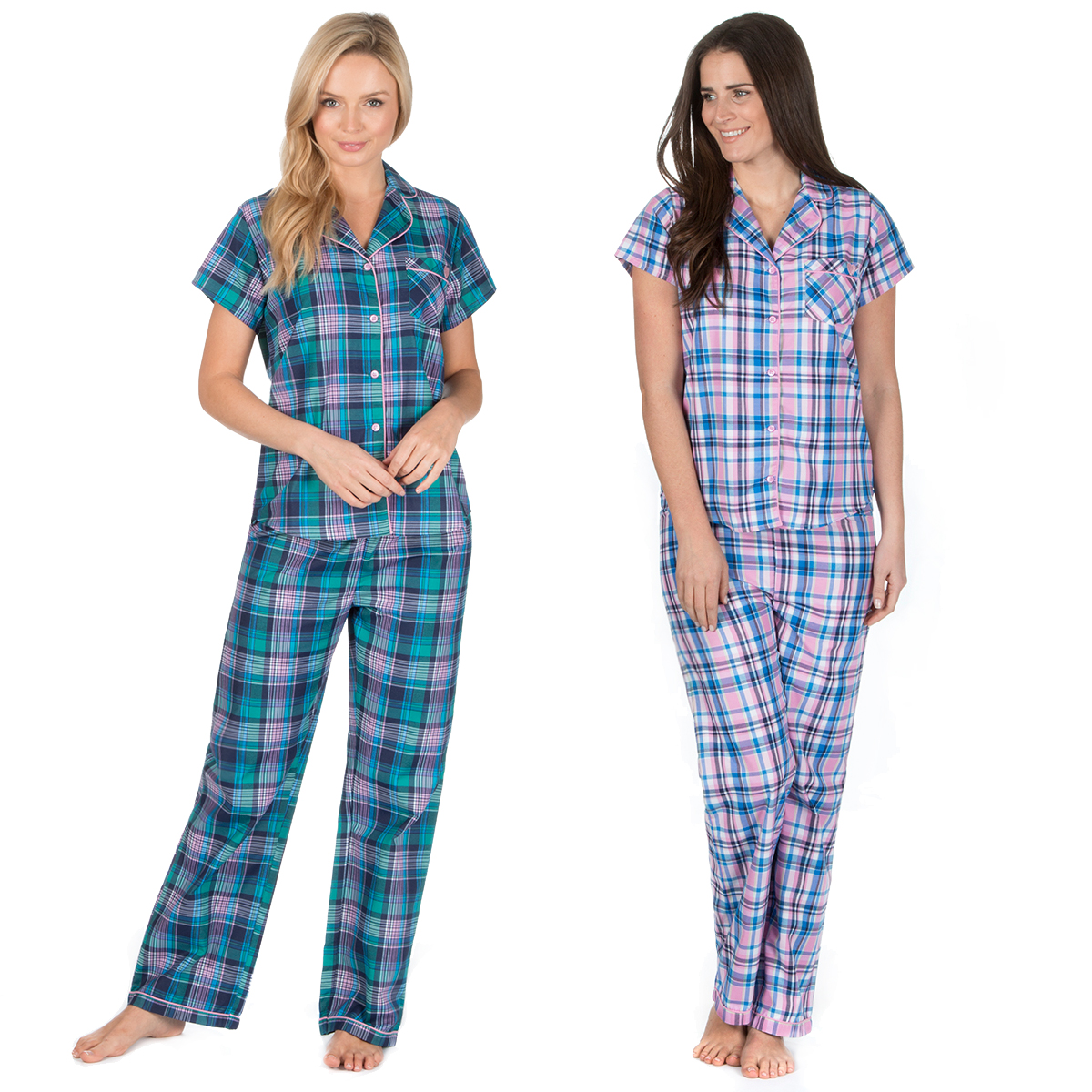 d57aa0a132 Ladies Checked Woven Pajama Set Button Up Front Short Sleeve PJs Nightwear  New