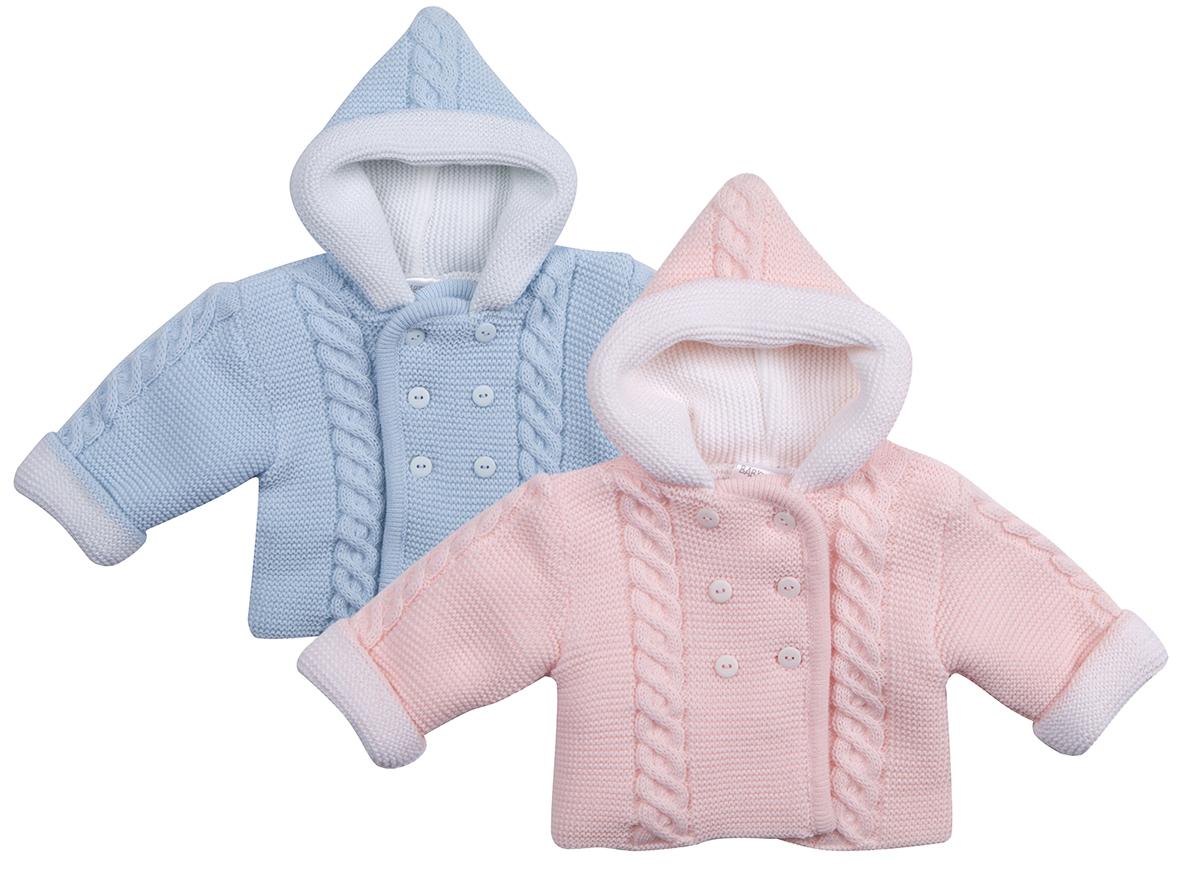 79fc959e04a4 Baby Babies Girls Boys Pram Coat Hooded Cardigan Chunky Knitted ...