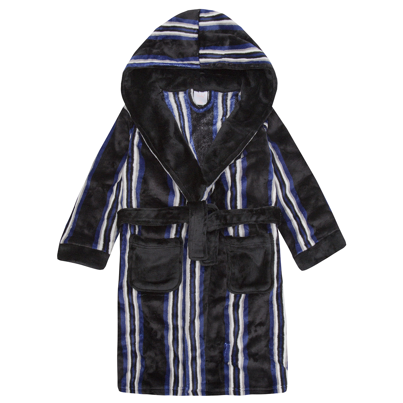 Flannel Fleece Hooded Night Robe 4Kidz Childrens Boys Striped Dressing Gown