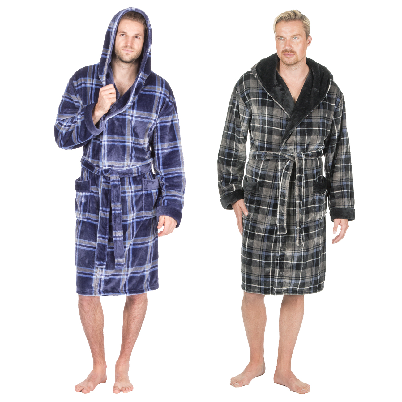 0afecff19a Pierre Roche Mens Luxury Flannel Fleece Dressing Gown Hooded Checked Robe