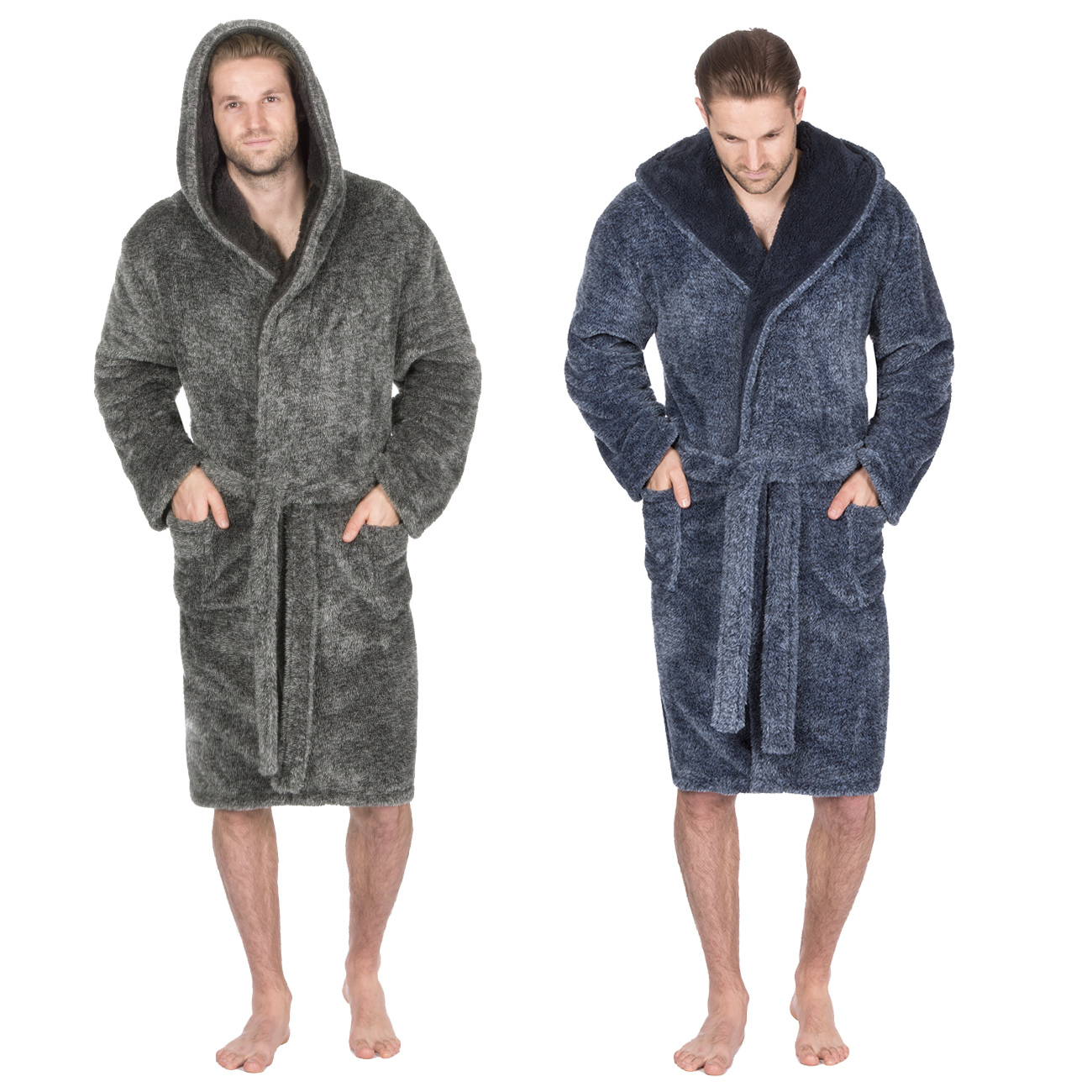 40c81cbfdc Pierre Roche Mens Gents 2 Tone Snuggle Fleece Dressing Gown Hooded Robe New