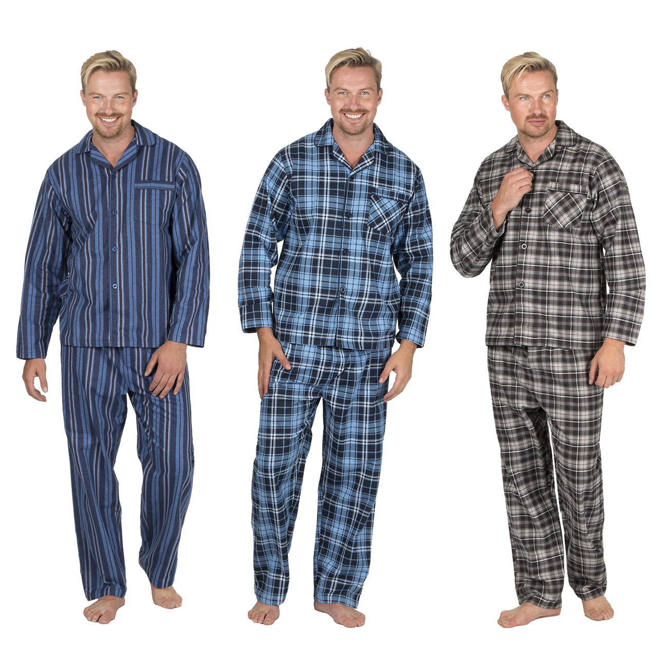 Mens Plus Size Flannel Pyjama Set Shirt Trousers Nightwear Sleepwear Big  Tall 3183d37e2