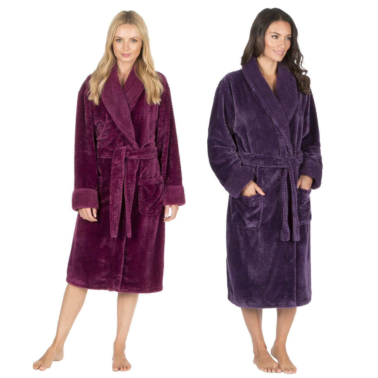 Ladies Womens Waffle Dressing Gown Fleece Shawl Collar Robe ...