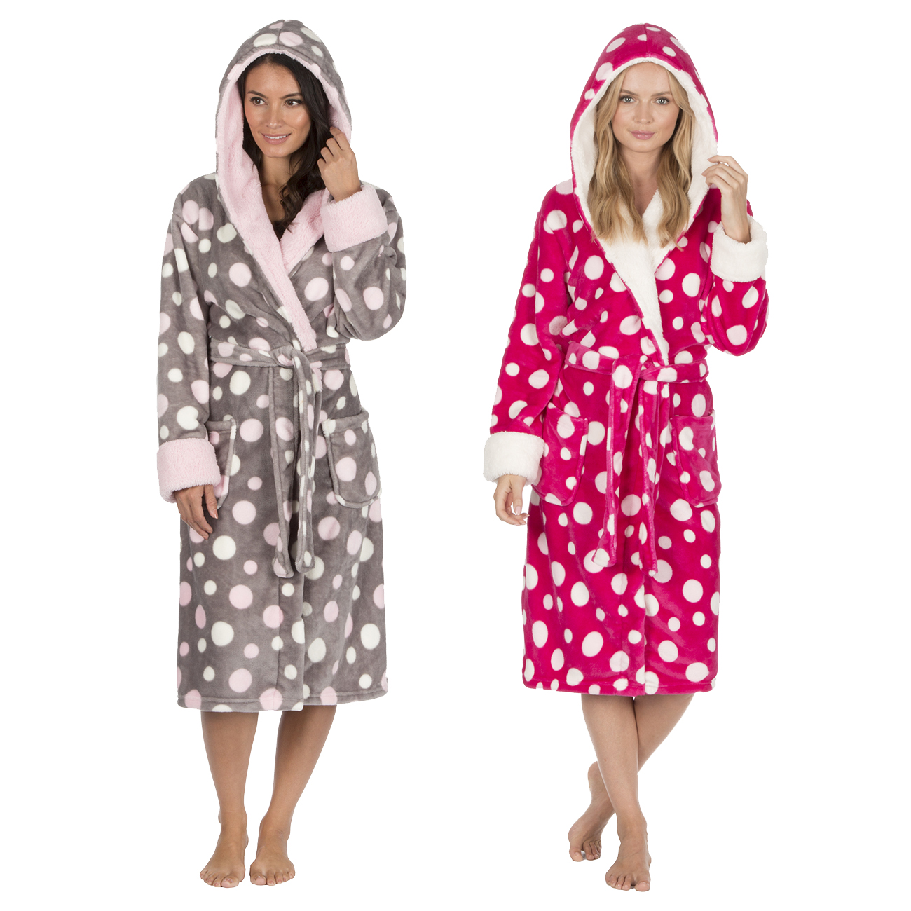 Forever Dreaming Ladies Spot Print Dressing Gown Fluffy Flannel ...