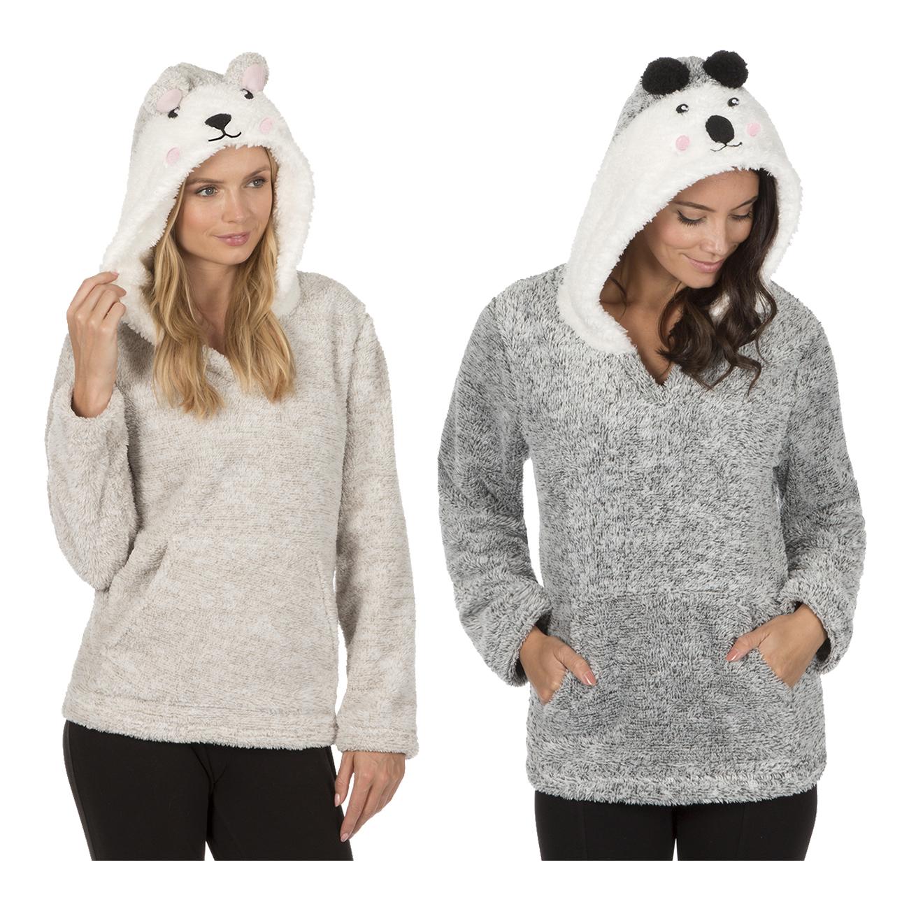 Ladies Women Animal Novelty Hooded Two Tone Snuggle Fleece Lounge Top Nightwear