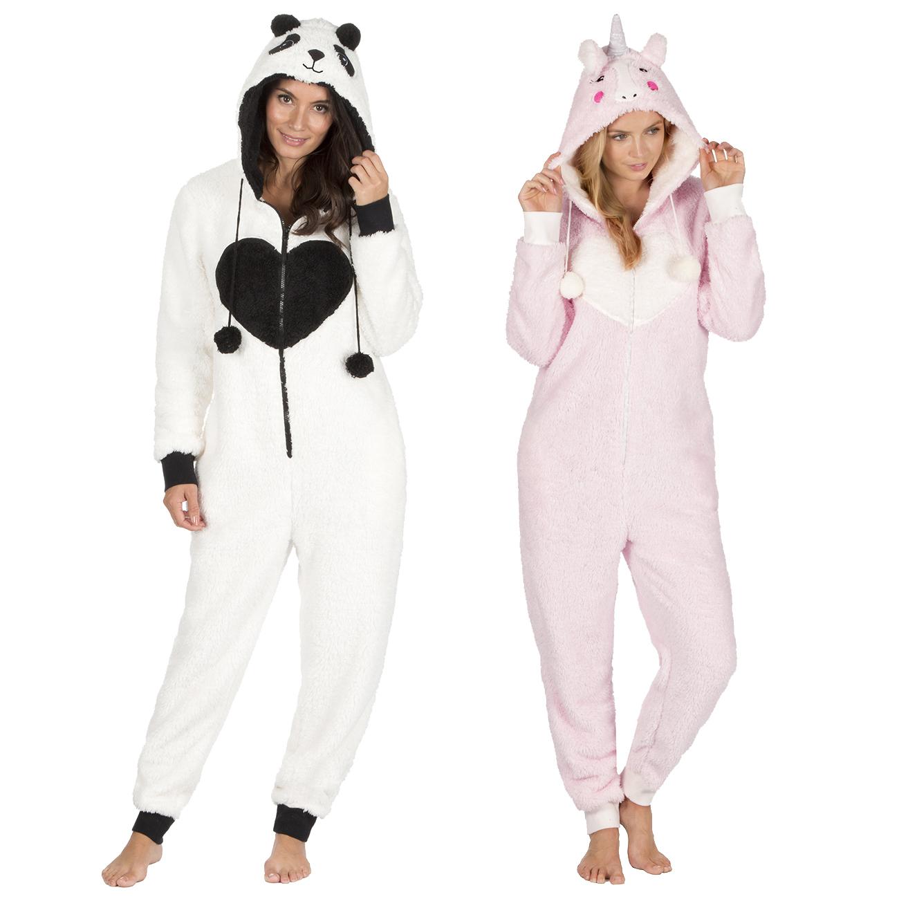 b305a66ef27b4 Onezee Womens Ladies Novelty Jumpsuit Snuggle Fleece Panda Unicorn Hooded  Lounge