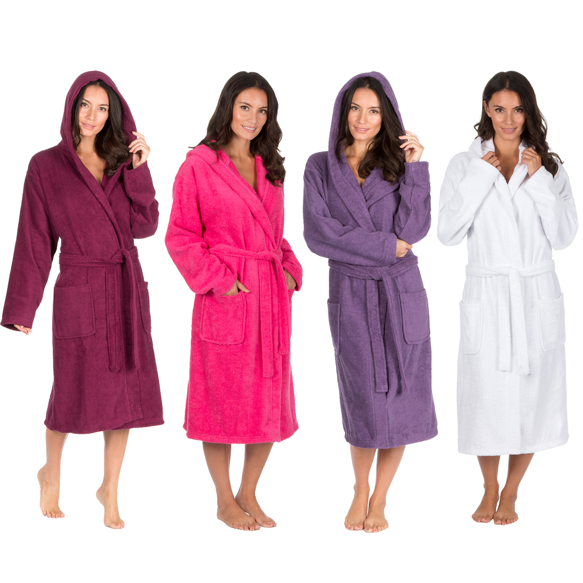 Ladies Luxury Terry Towelling Bath Robe Hooded Cotton Hotel Changing Gown  New 3aeee142c