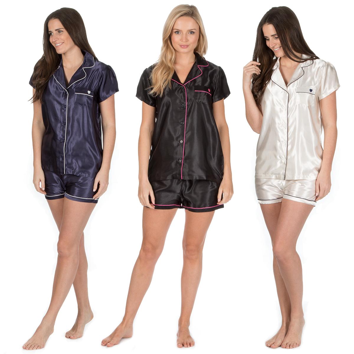 Womens Ladies Satin Pajama Set Short Sleeved Nightwear Shorts Summer  Loungewear 996e90a90