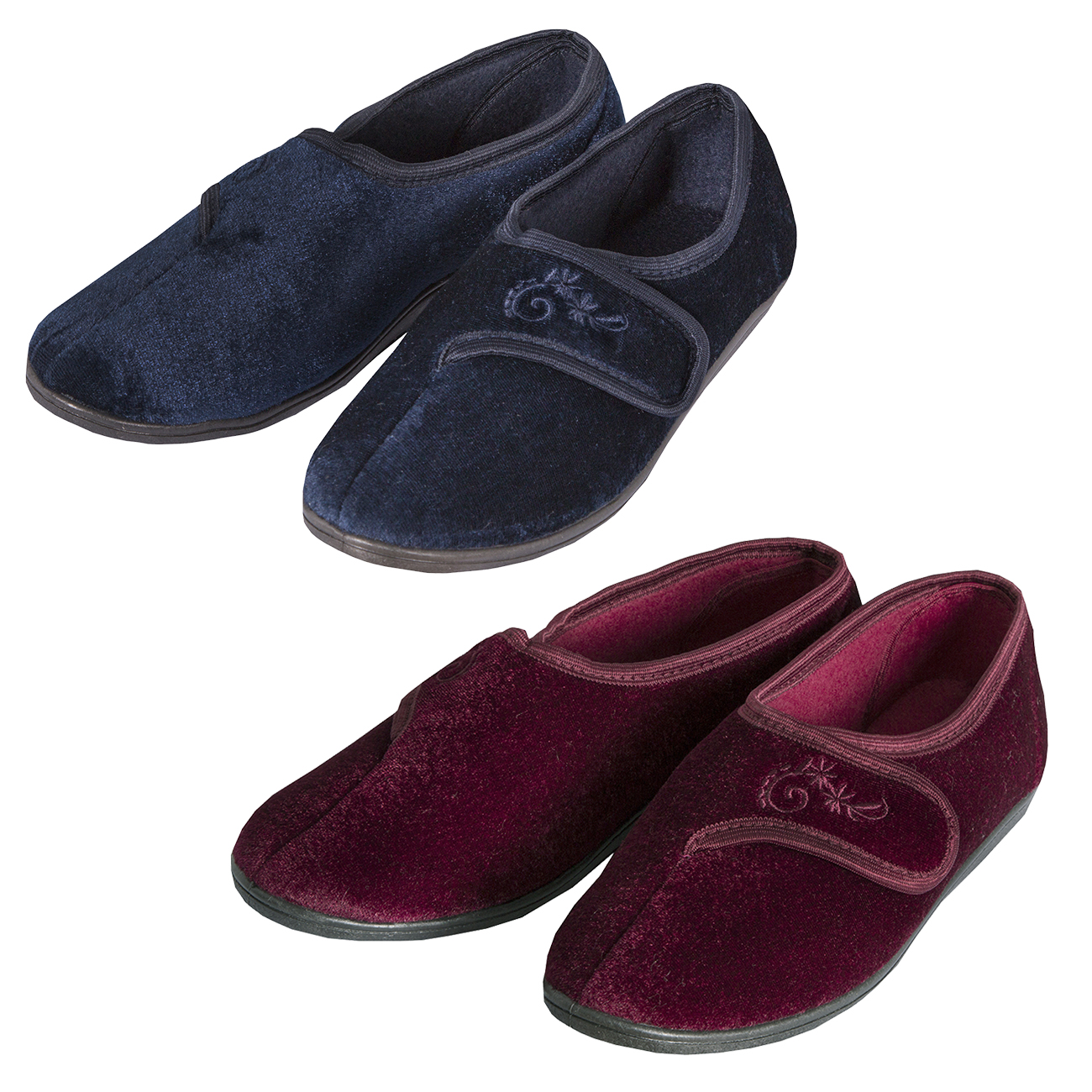Ladies Womens Velour House Slippers Touch Fastening Luxury ...