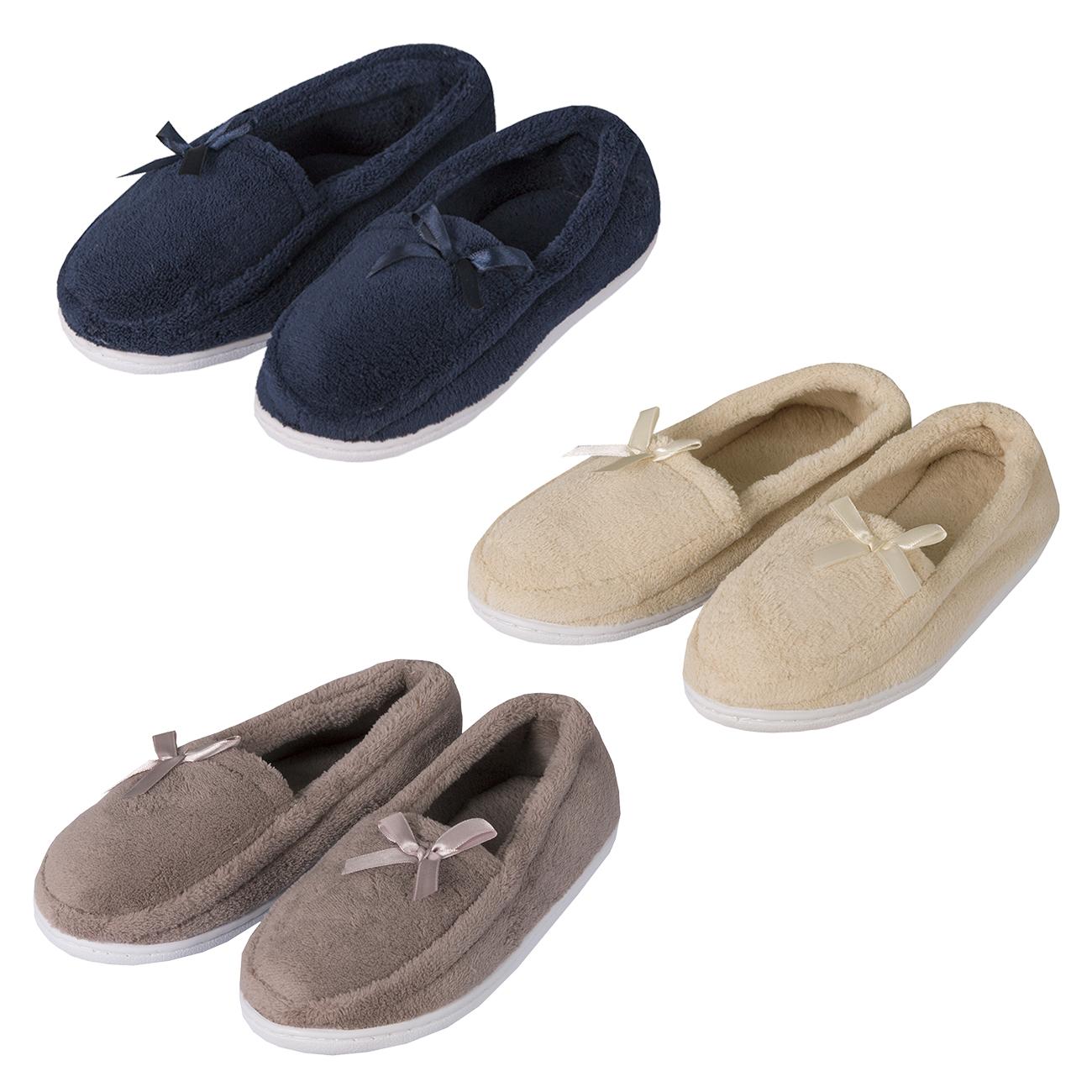 Ladies Womens Plain Moccasin Slippers Memory Foam Fur