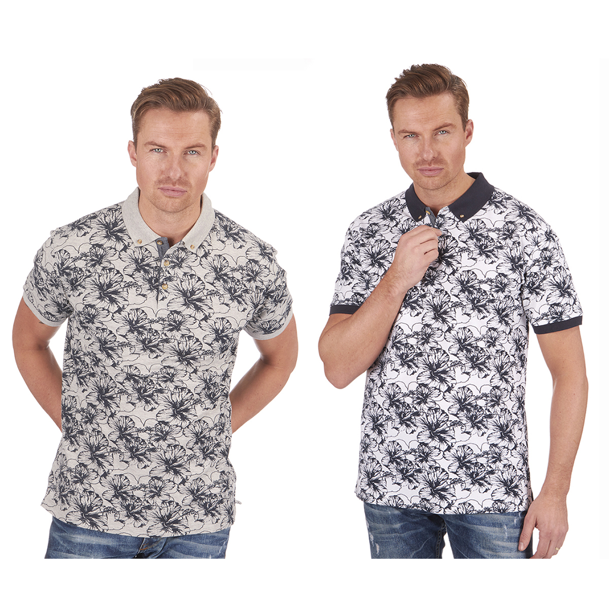 870409050e Details about URBAN REVIVAL Men's Floral Printed Polo Shirt Cotton Rich  Smart Casual Top New