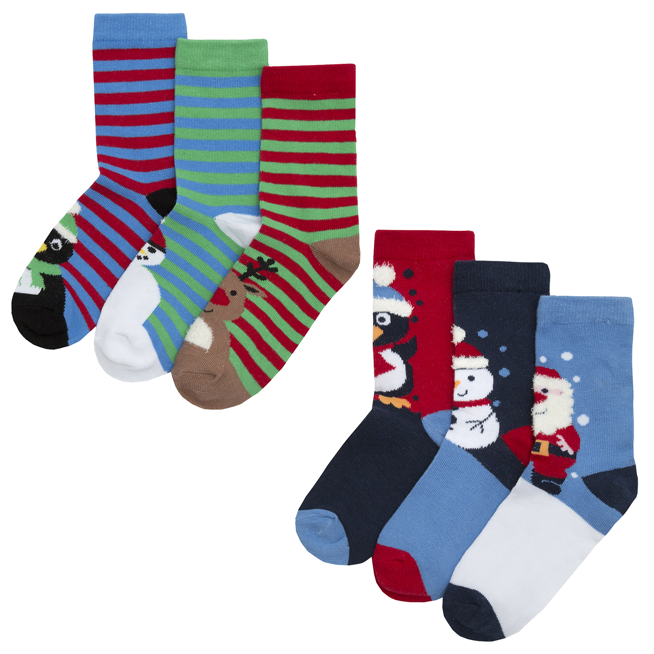 Boys Kids Childrens Christmas Socks Xmas Festive Cotton Rich 6 Pairs ...