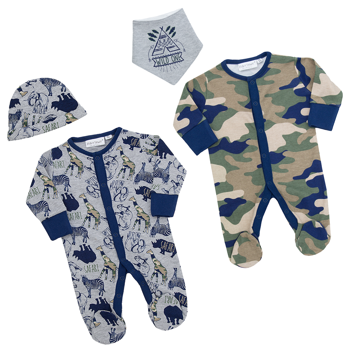 BABY TOWN Babies Sleepsuit//Babygro with Matching Hat or Bib ~ Newborn 9 Months