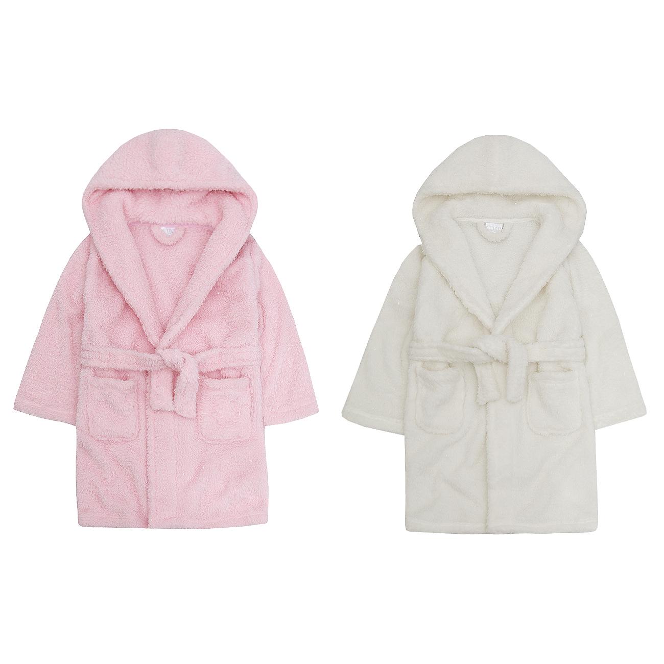 MiniKidz Infant Girls Sparkle Snuggle Fleece Dressing Gown Hooded ...