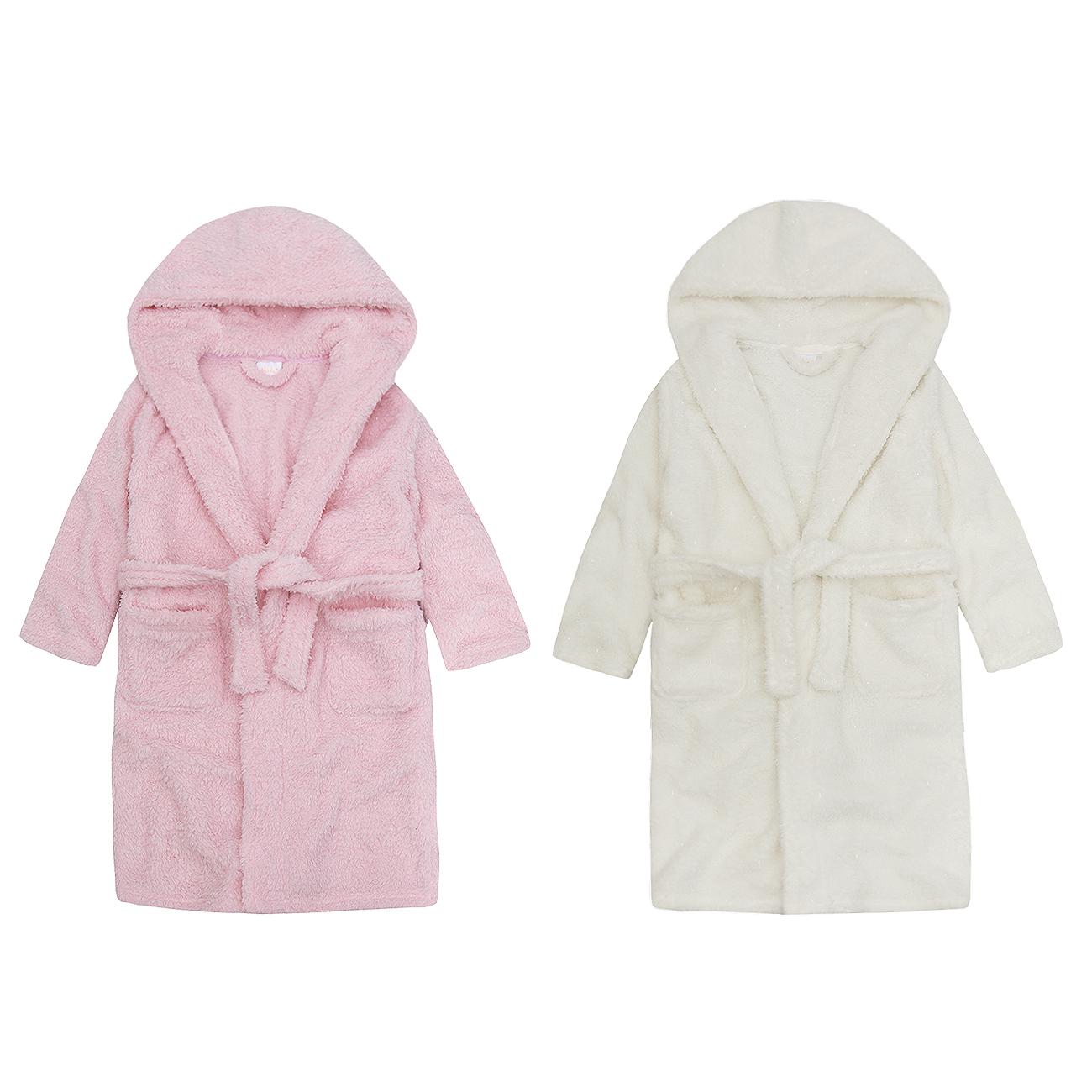 4KIDZ Girls Hooded Novelty Flannel Fleece Dressing Robe