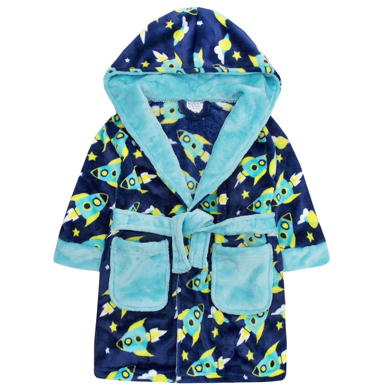 cb0ce2c5d34f Minikidz Infant Childs Boys Rocket Space Dressing Gown Hooded Fleece ...