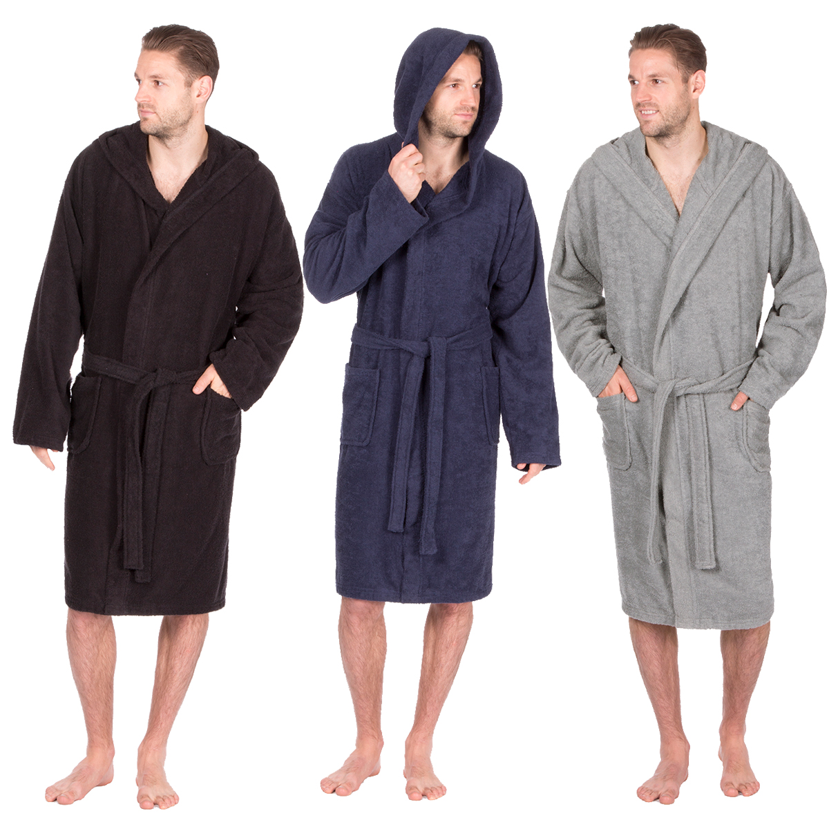 Pierre Roche Mens Terry Cloth Towelling Bath Robe With Hood Cotton ...