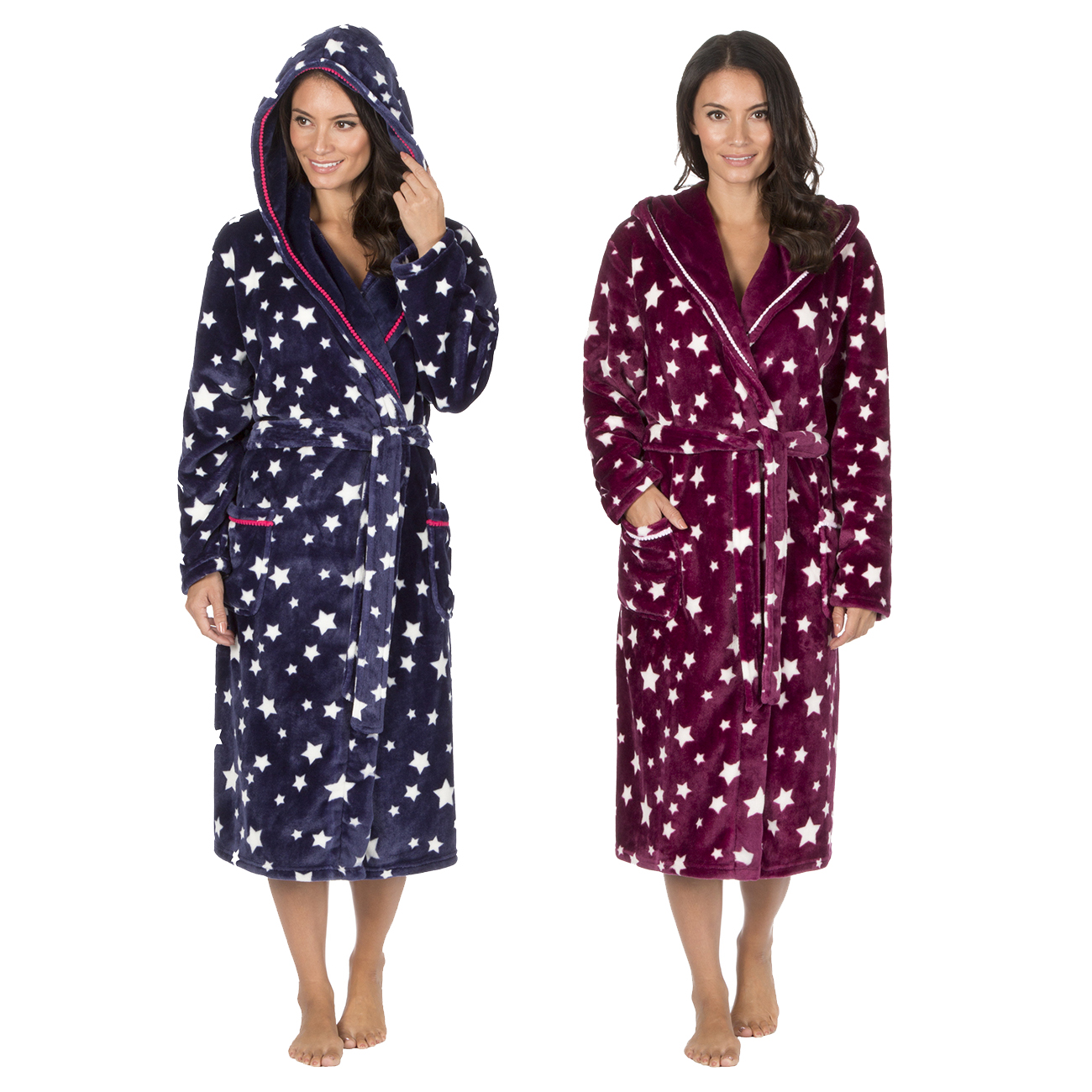 Forever Dreaming Womens Star Print Dressing Gown Flannel Fleece ...