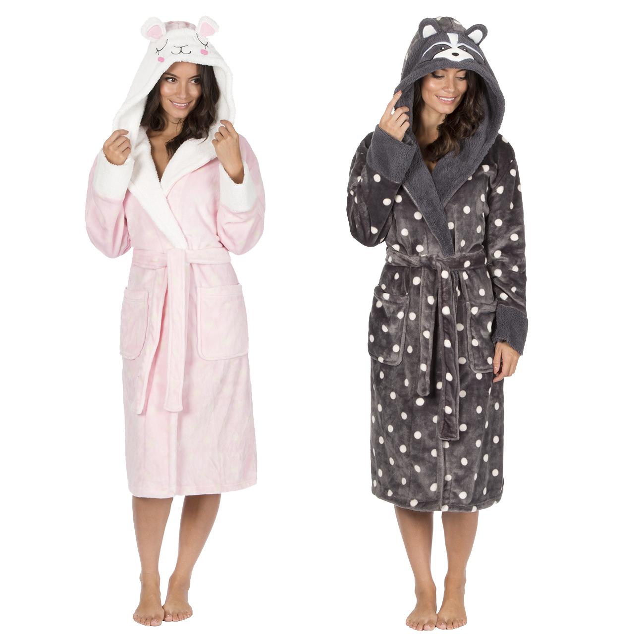 98388fb2fe Ladies Women s Novelty Dressing Gown Animal Fleece Robe Polka Dot Hooded  Sheep