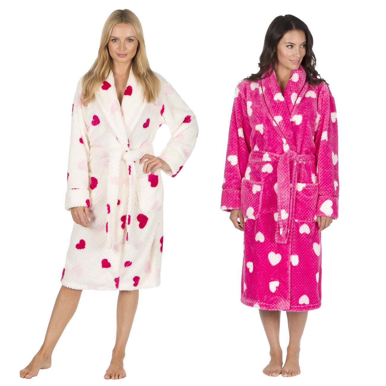 Forever Dreaming Ladies Fluffy Waffle Fleece Dressing Gown Womens ...