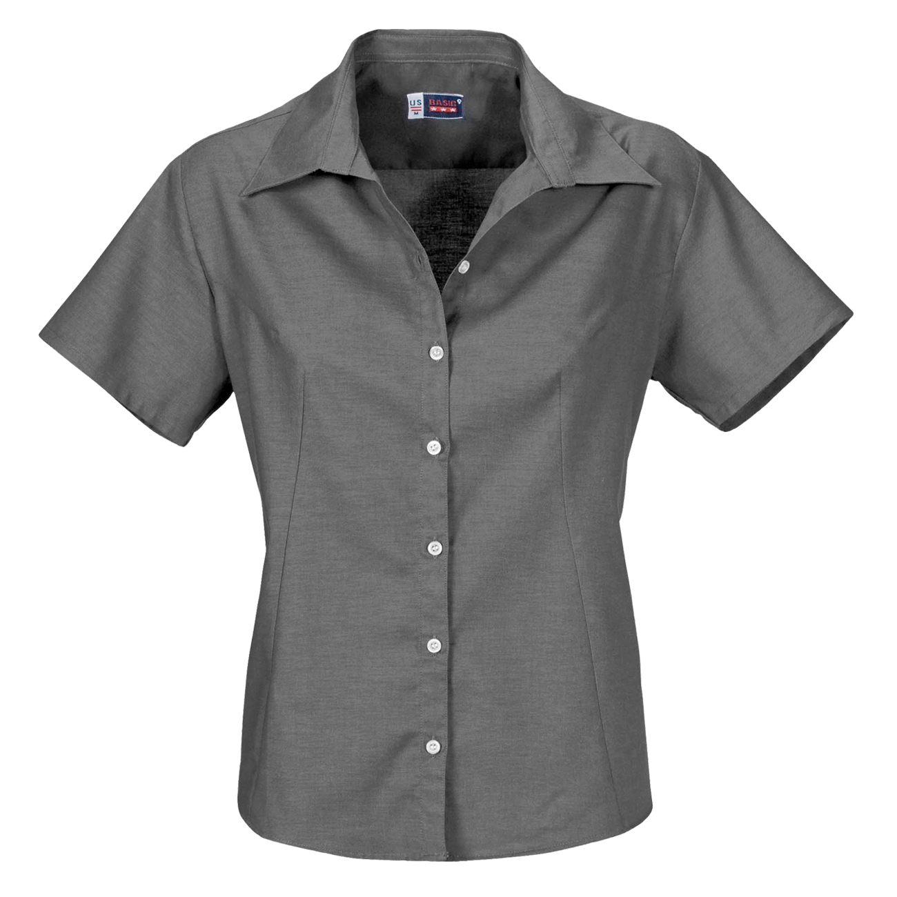 af71aa28 Ladies Womens US Basic Classic Casual Grey Work Shirt Short Sleeve Open Neck