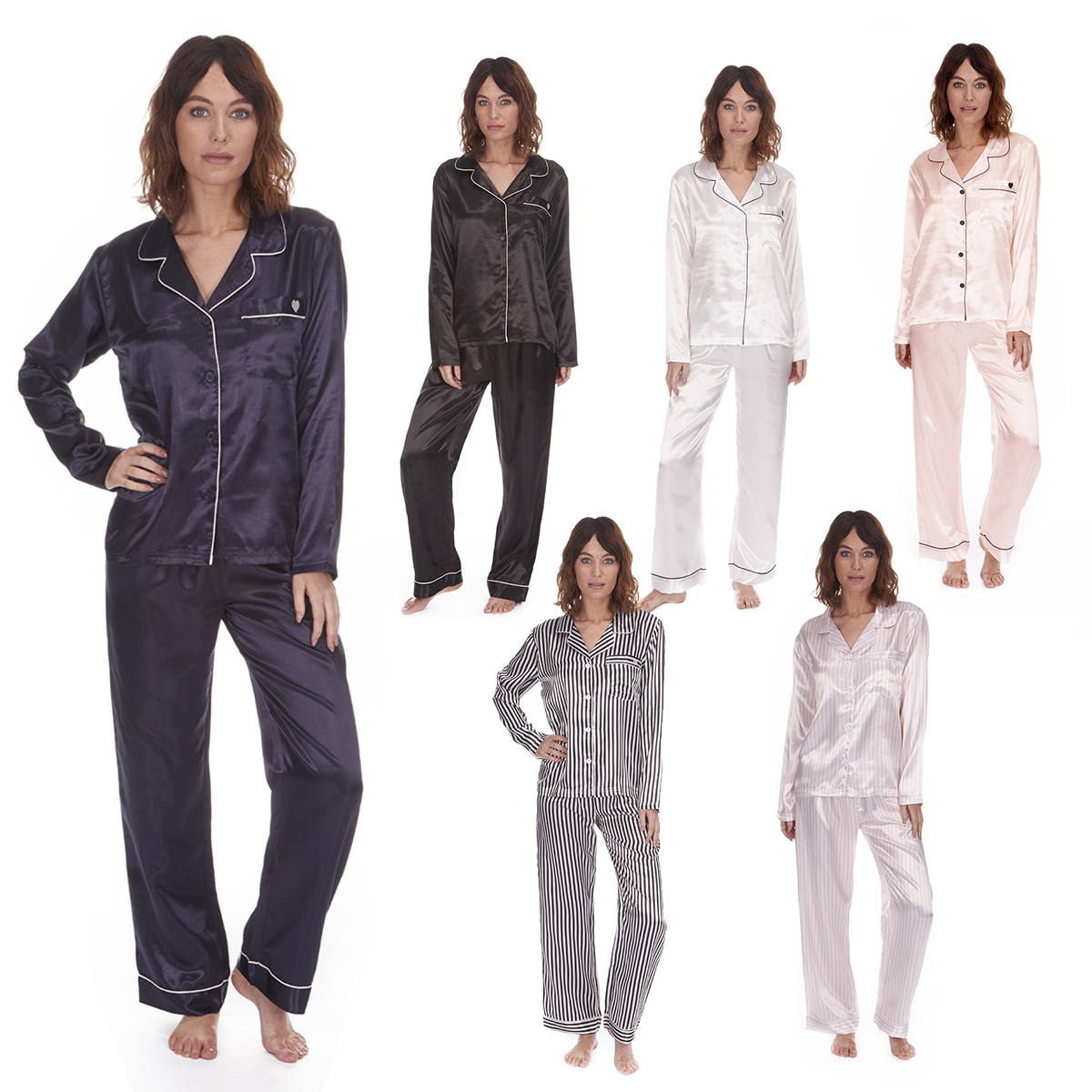 Ladies Womens Satin Pajama Set Lounge Sleep Plain Long Sleeve FOREVER  DREAMING a4733ddcca