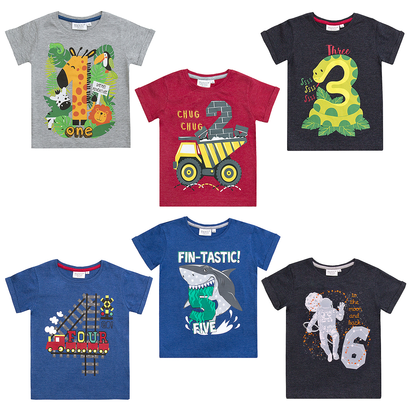 MINIKIDZ Infant Boys Birthday T Shirts With Number Cotton Blend Gift Top 1 6 Yrs