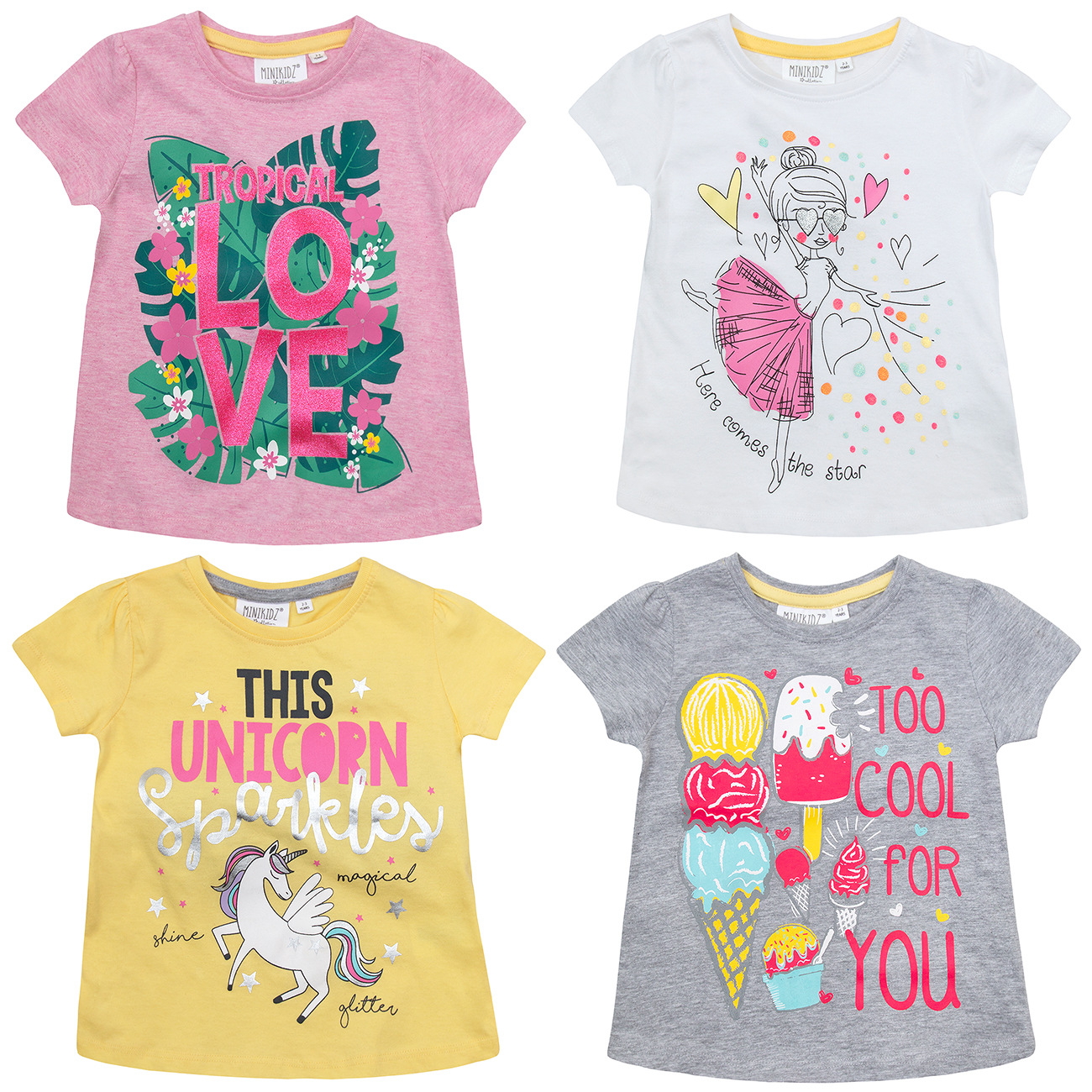 37b4ba4893d MINIKIDZ Infant Girls Printed T-Shirts Cotton Rich Vacation Tops Ages 2 Up  To 6
