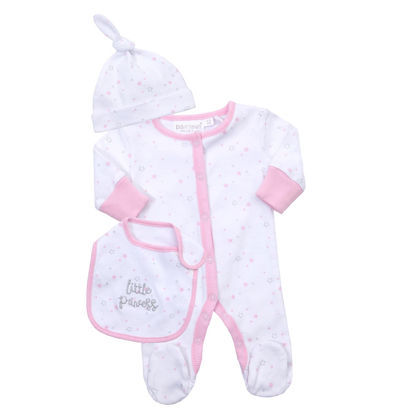 Cotton Prem BABY BOYS Girls Pink White Babygrow Bodysuit Sleepsuit Rompersuit