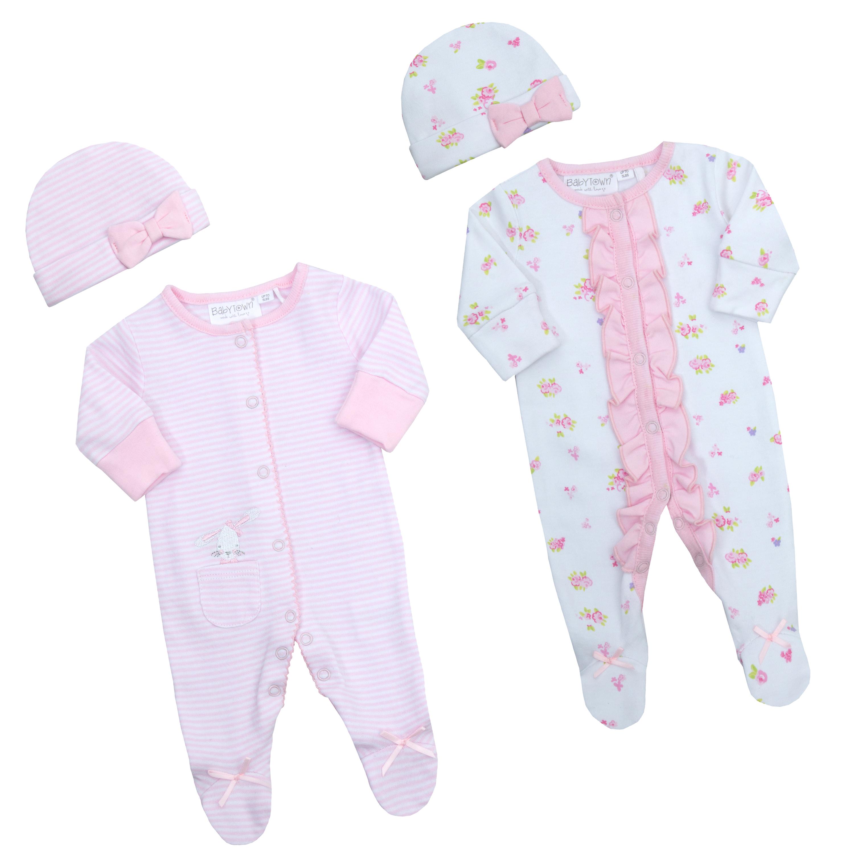 Newborn Tiny Baby Girls Bunny Sleepsuit Set Cradle Cute Cap Hat