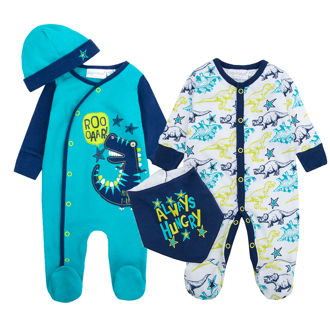 Newborn Baby Boys Sleepsuit Set Hat Car Print 2 Piece Babygrow Romper BABYTOWN