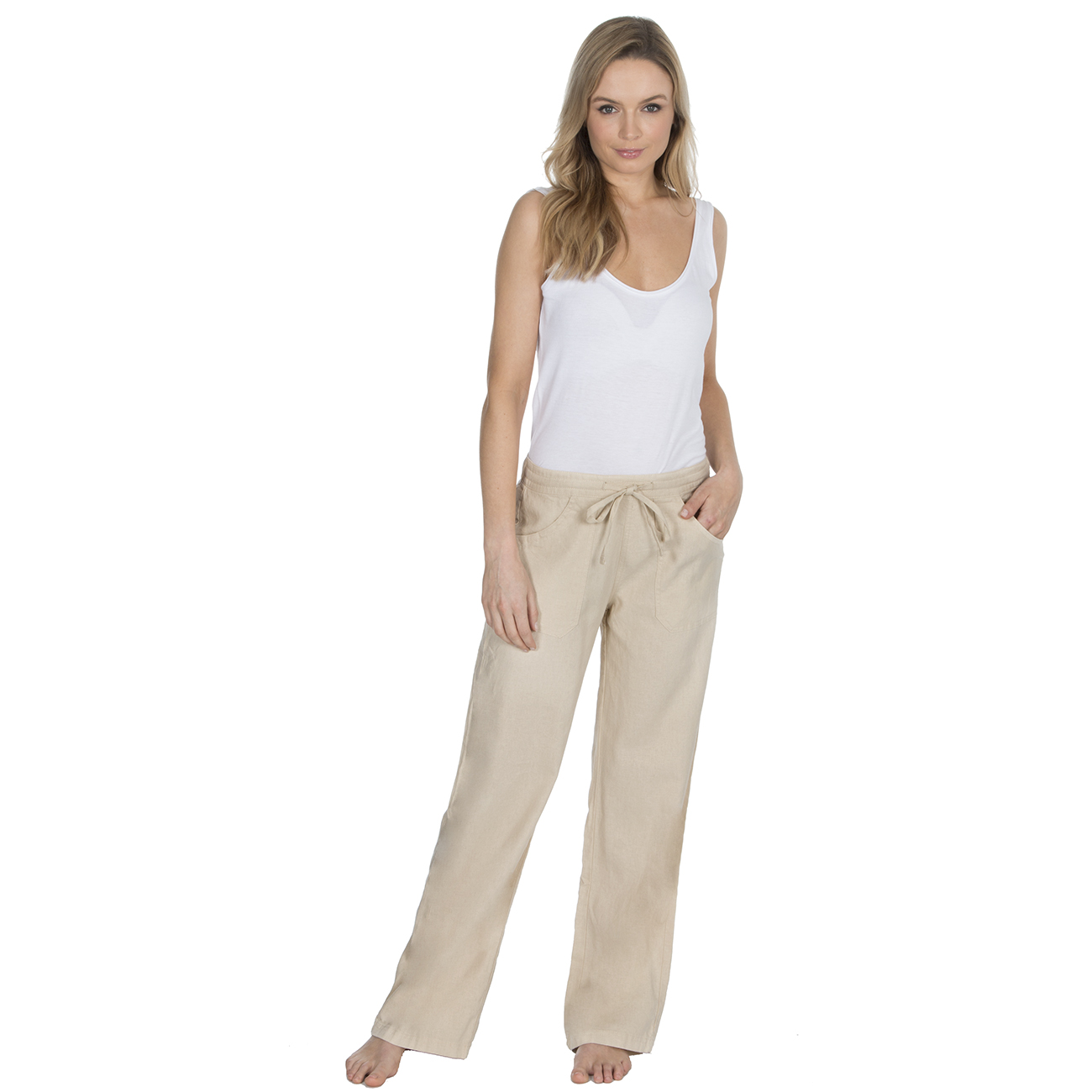 9cc82f5c227 Metzuyan Womens Linen Trousers Wide Fit Summer Pants Pockets 12-18 Plus Size