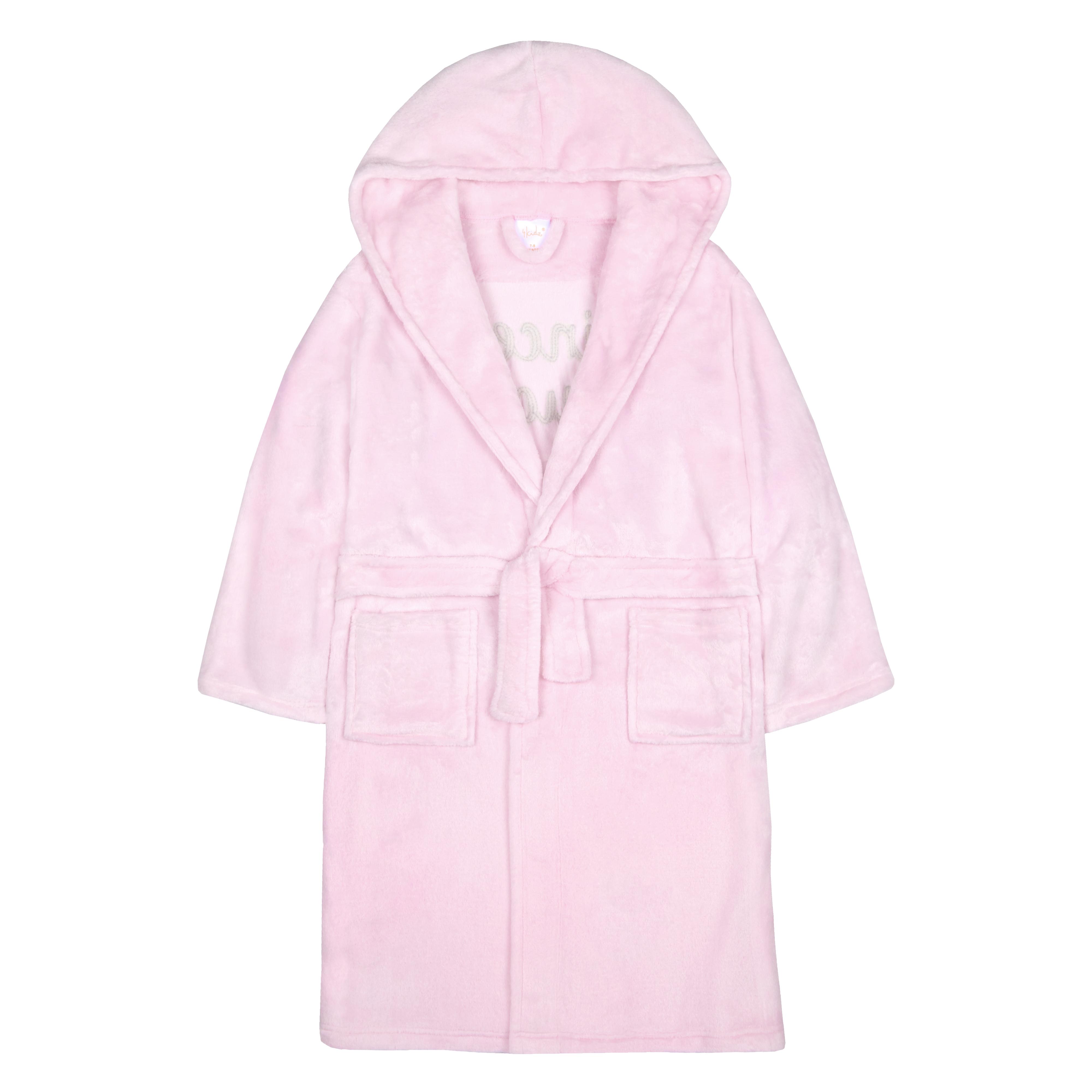 51b0aa9b02c Girls Children s Sequin Princess Plush Fleece Dressing Gown Robe Soft Hooded