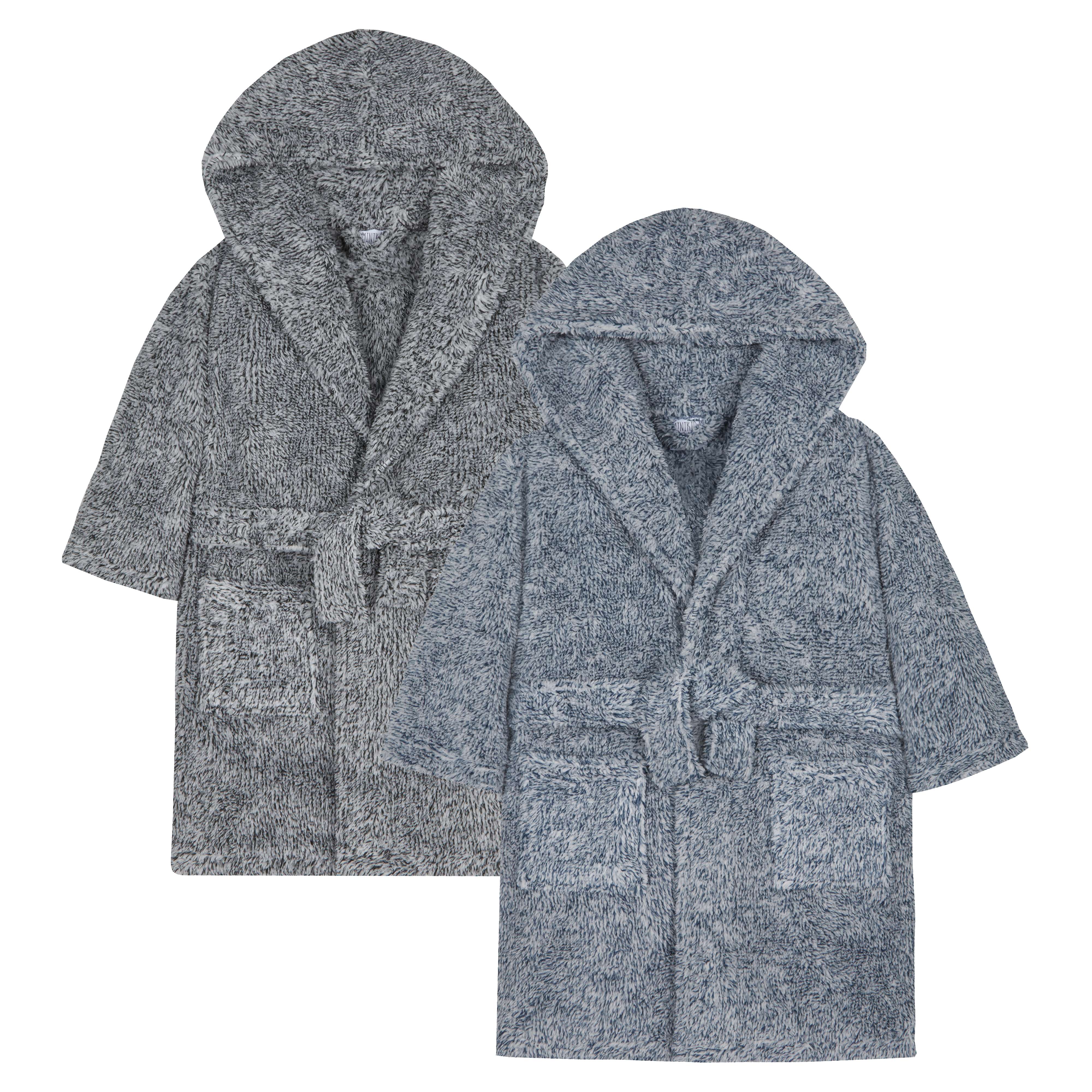 a0bc196d52 Boys Two Tone Snuggle Fleece Dressing Gown Robe Warm Fluffy Hooded Pockets  Soft