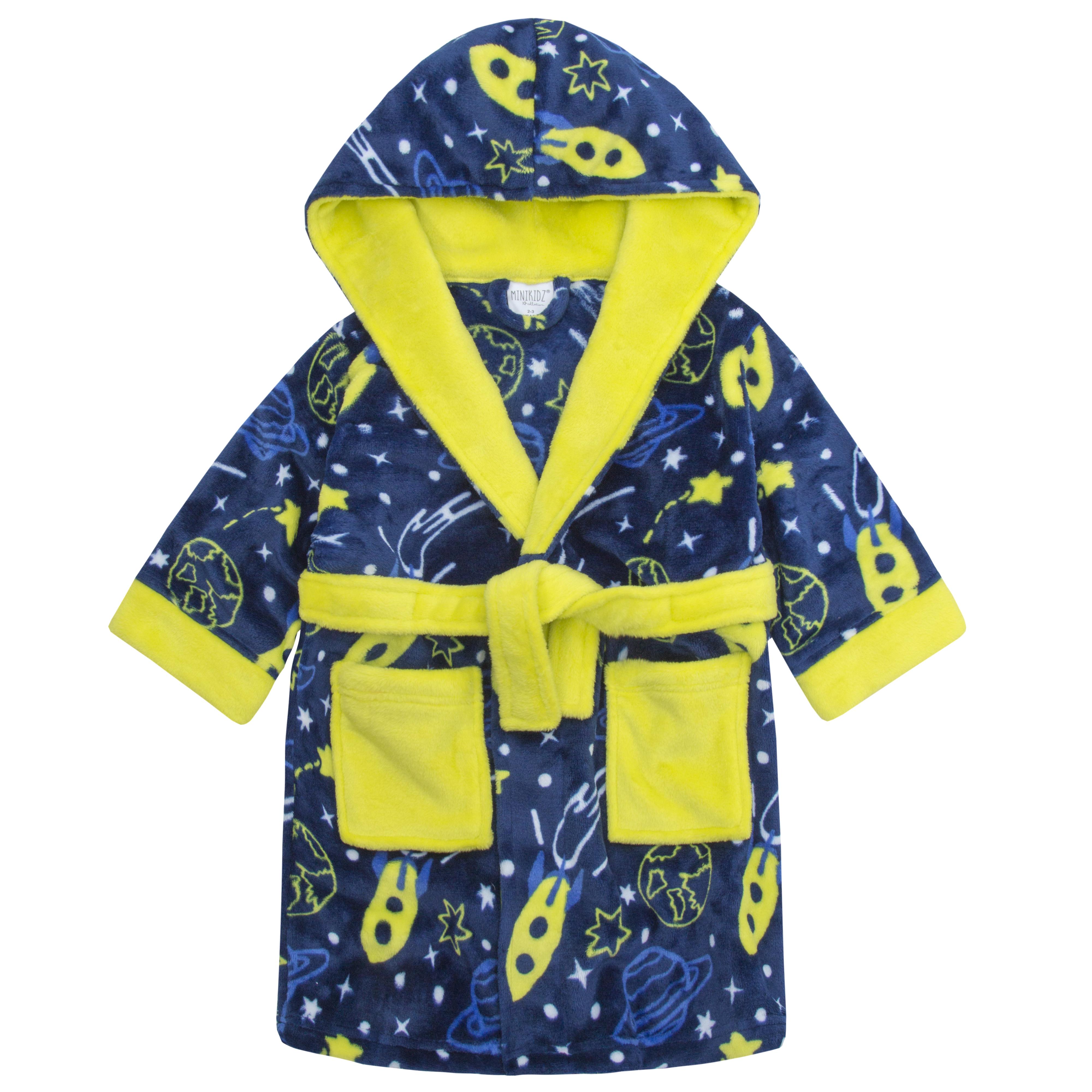 Boys Space Print Dressing Gown Robe Soft Plush Fleece Hooded Fluffy ...