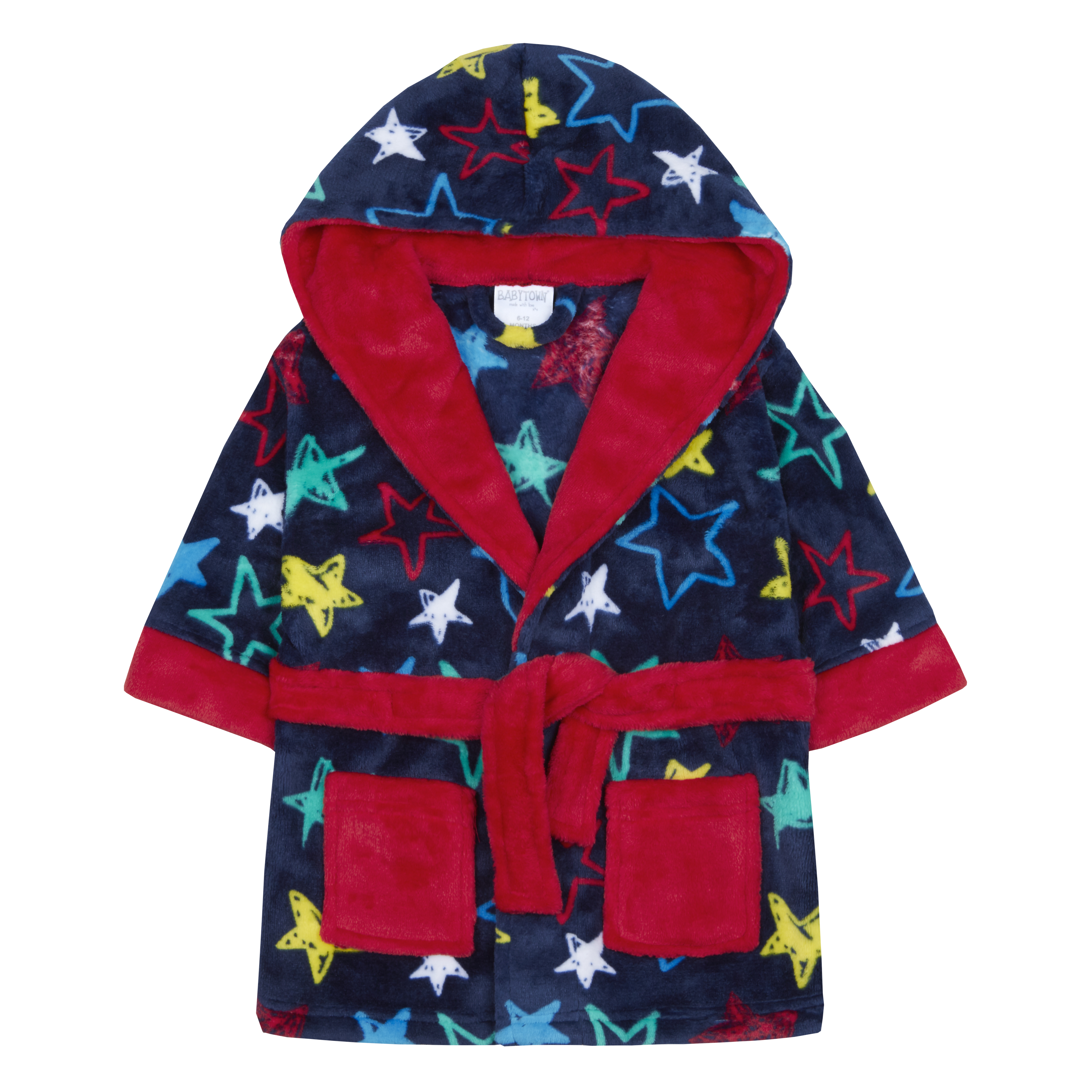 5f1abb8745825 Baby Boys Dressing Gown Robe Star Print Plush Fleece Snuggle Soft Warm  Hooded