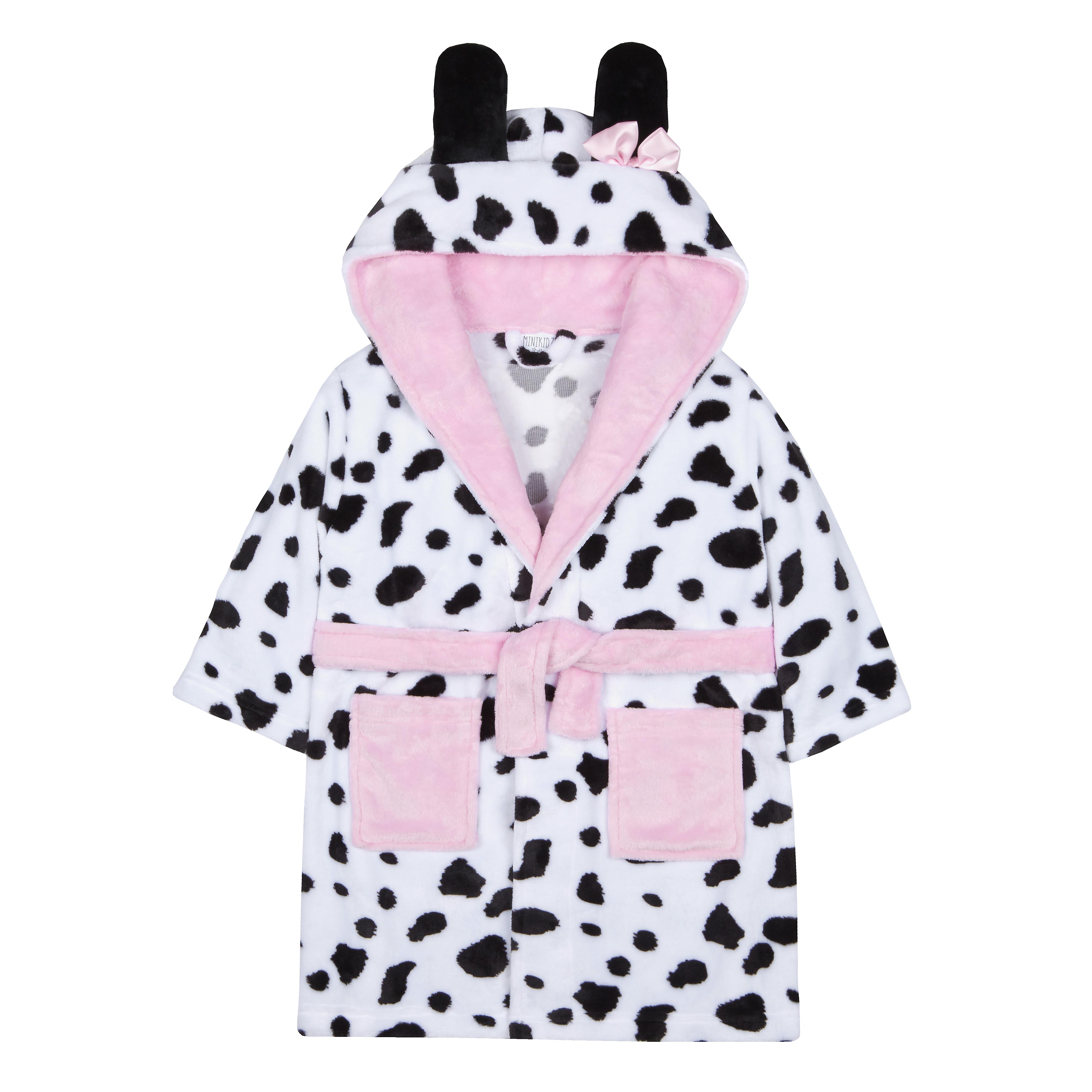 Infant Girls Dalmatian Print Dressing Gown Robe Plush Fleece Hooded Animal  Soft afda00d47