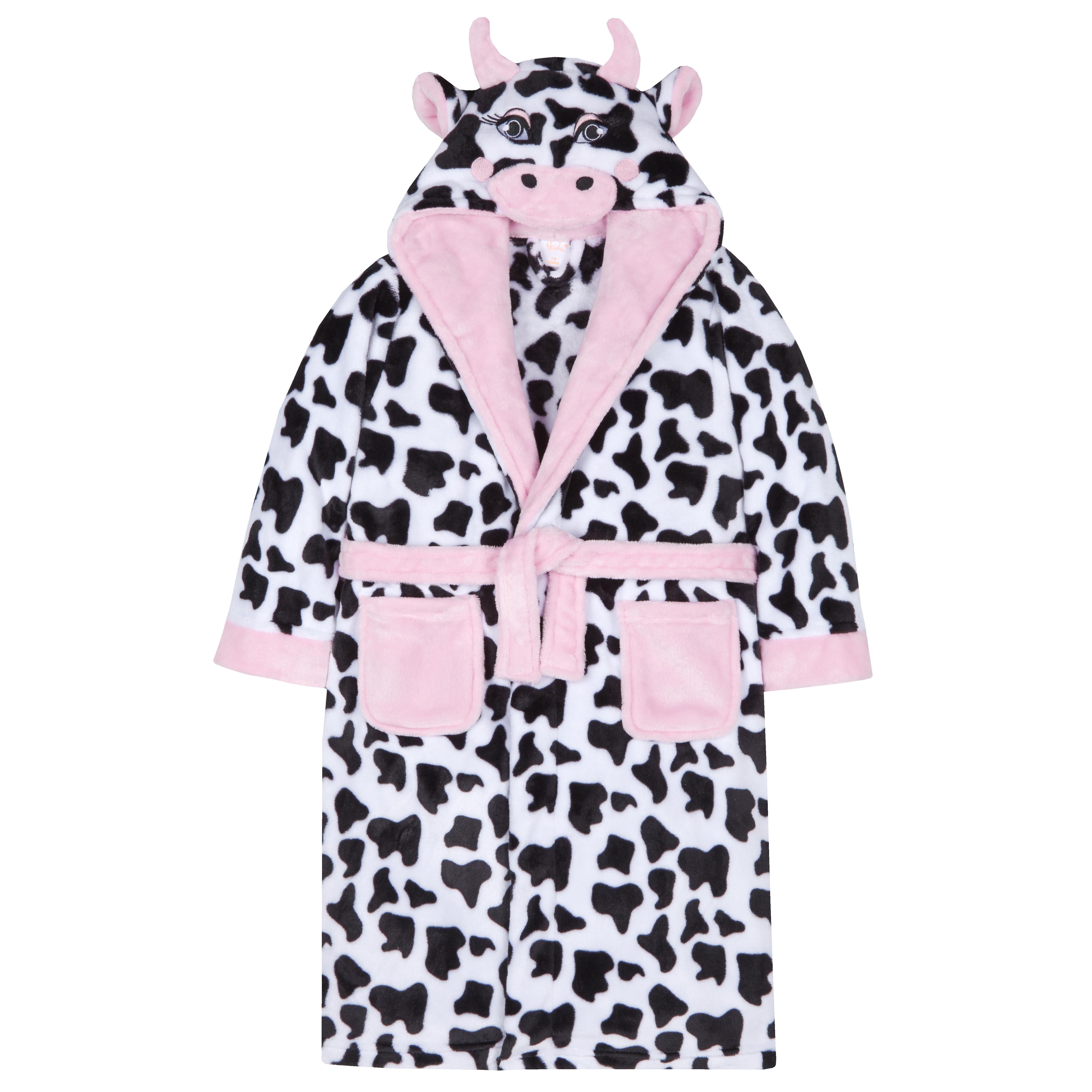 4Kidz Girls Dalmatian Print Dressing Gown with Hood /& Face