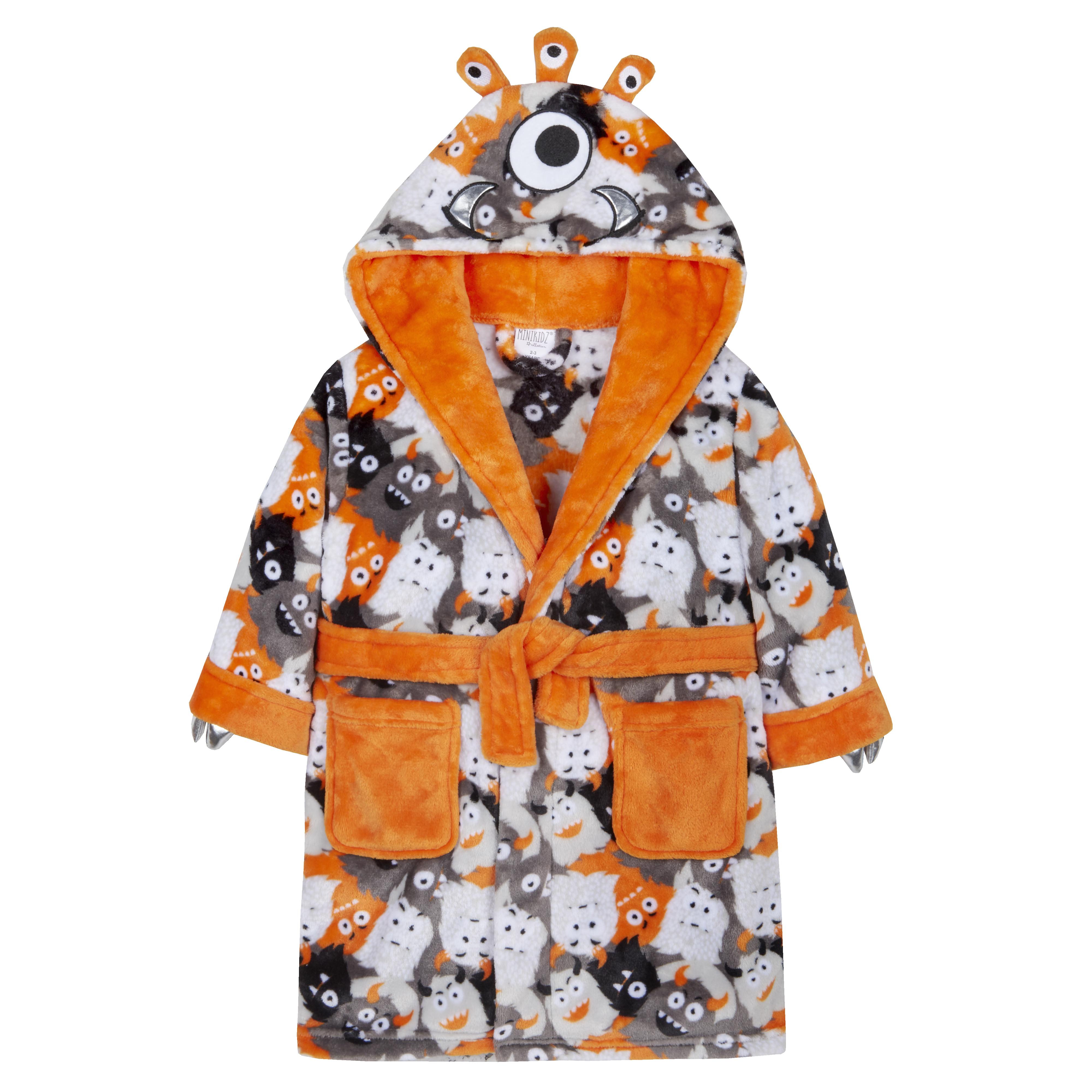 Minikidz Boys Dinosaur Camo Soft Fleece Dressing Gown with Hood