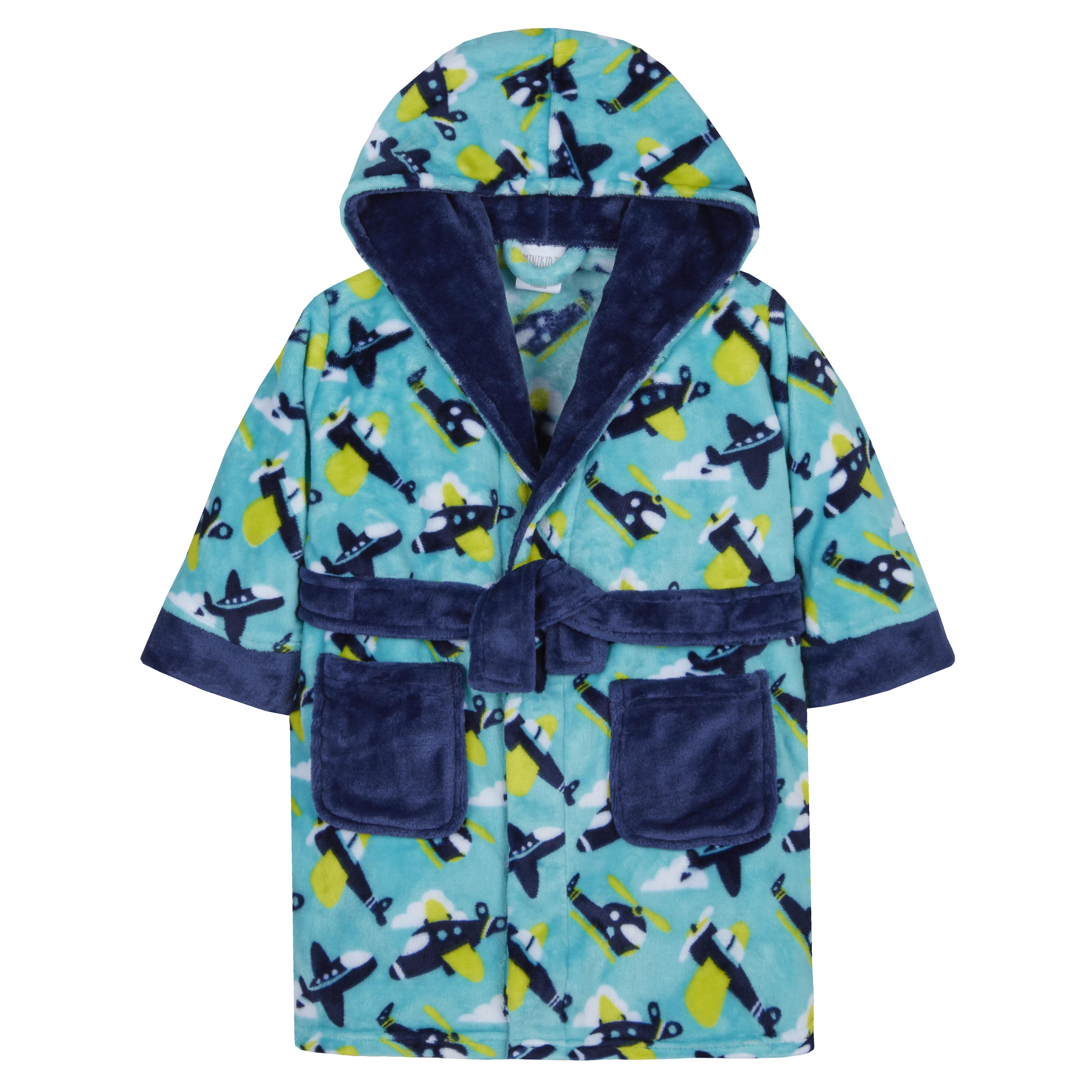 Minikidz Infant Boys Football Novelty Hooded Dressing Gown Bath Robe Nightwear Ages 2-13